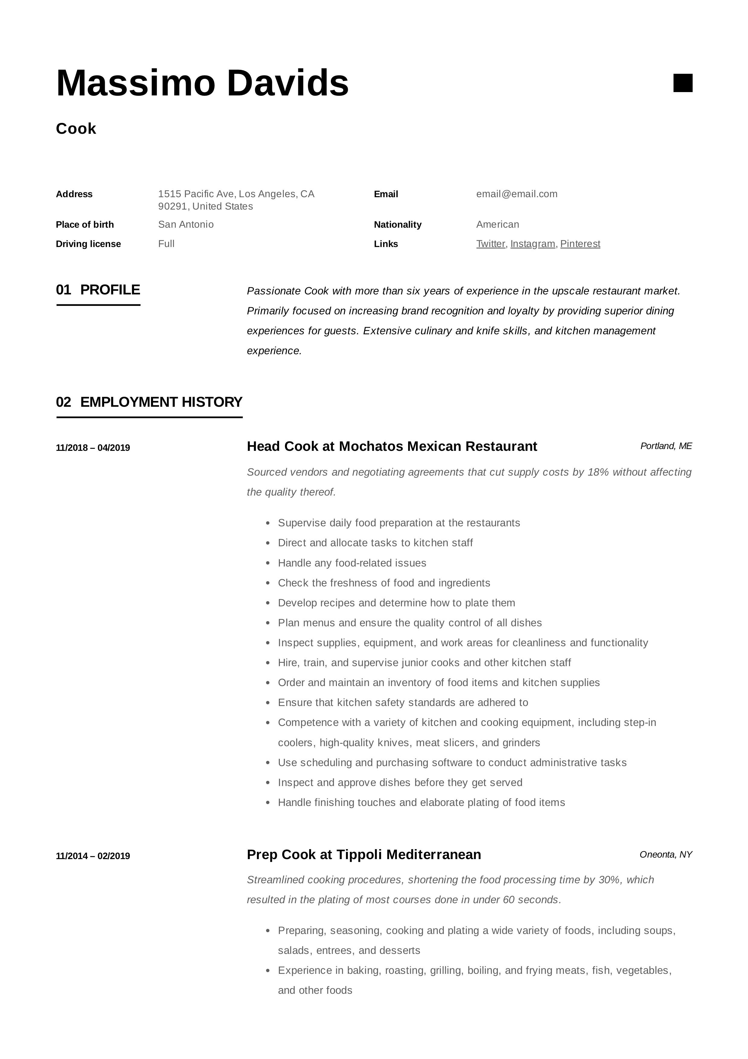 Resume Sample Cook