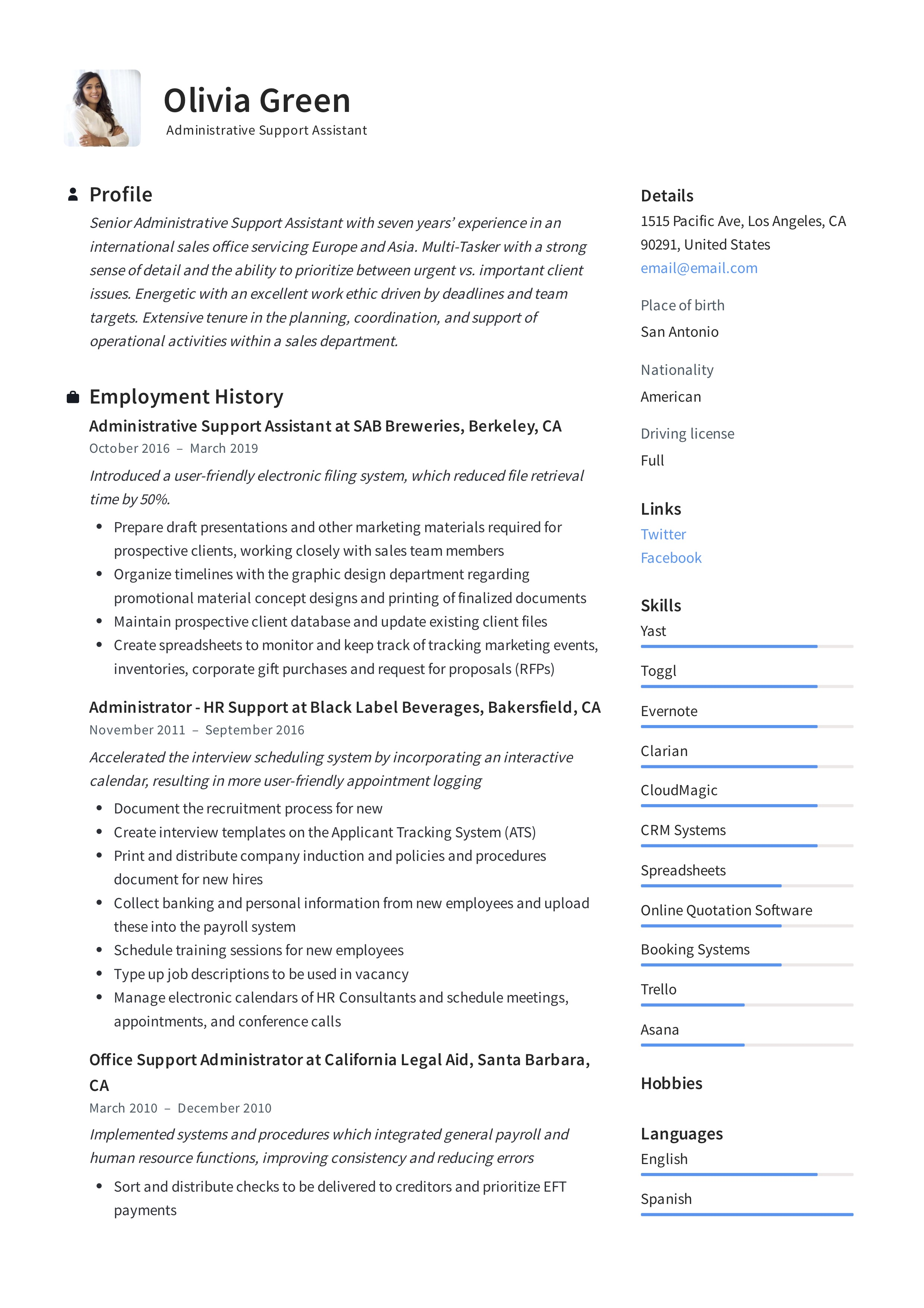 Administrative Support Assistant Resume Guide 12 Pdf Resumes