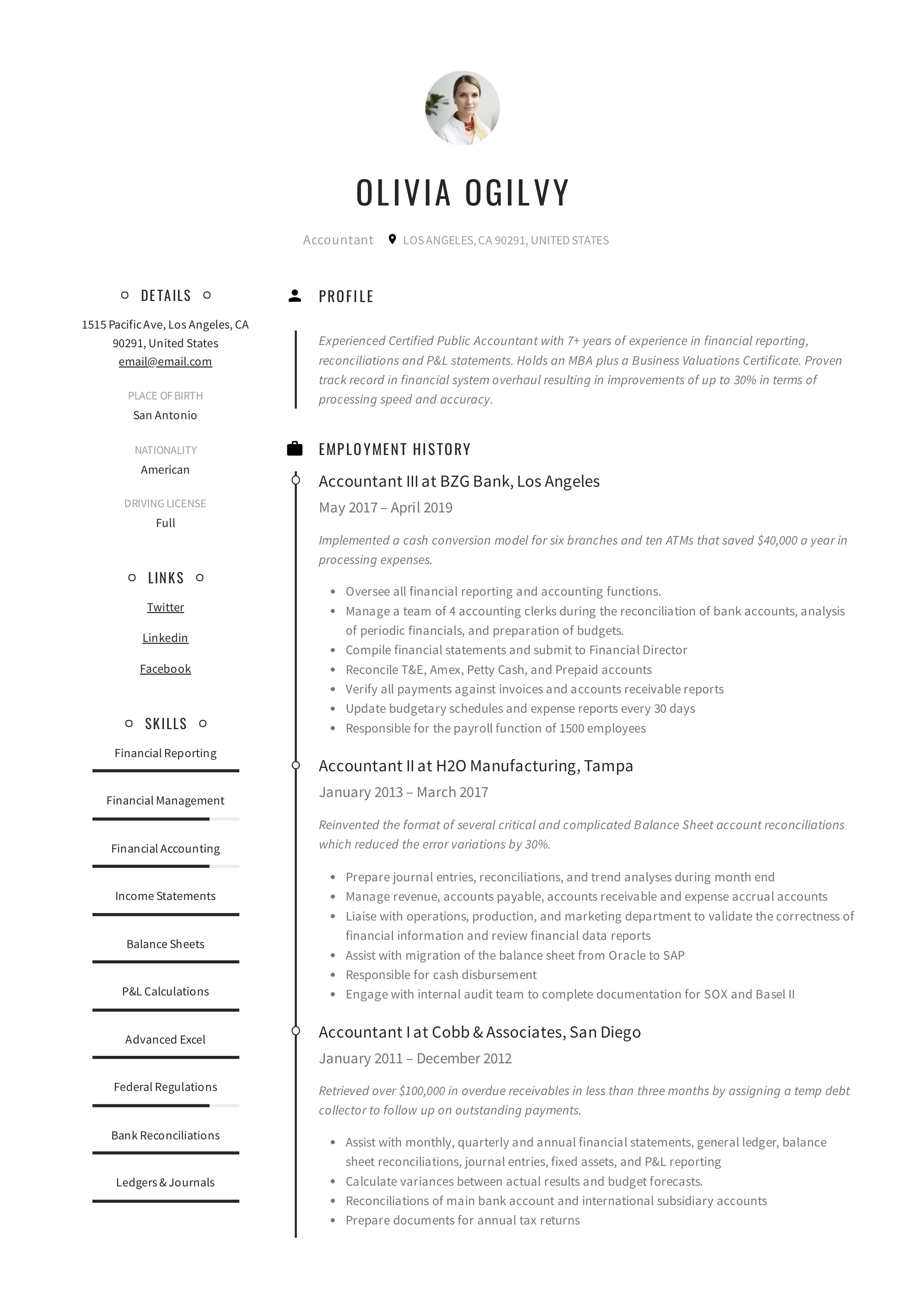 Accountant Resume & Writing Guide | +12 Resume TEMPLATES | PDF
