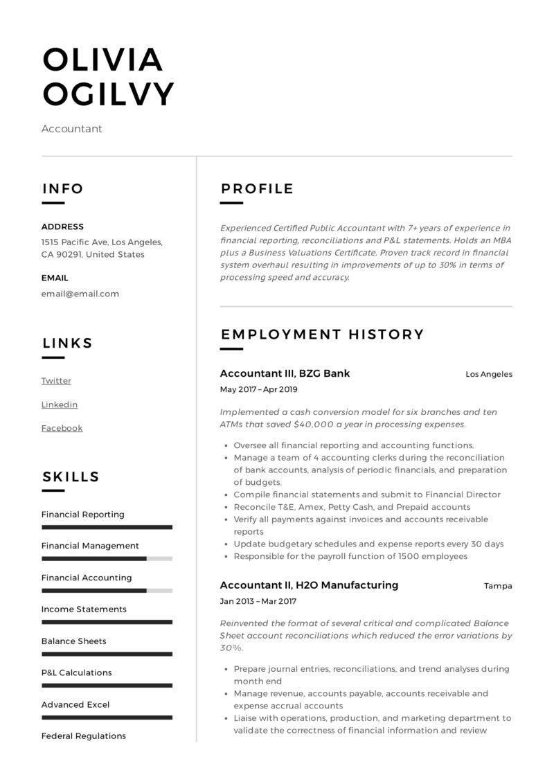 Accountant Modern Resume