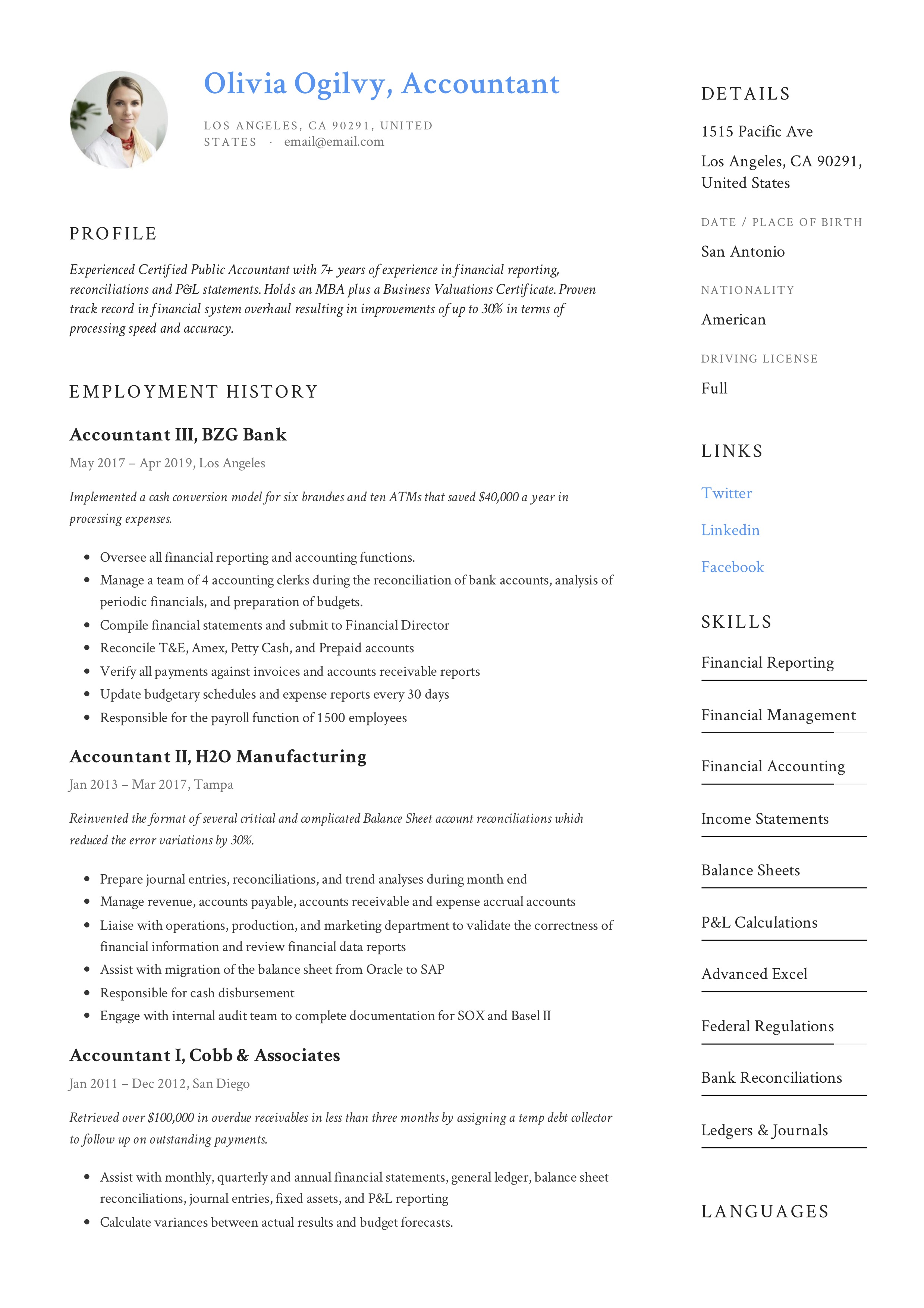 Accountant Resume Amp Writing Guide 12 Resume Templates Pdf