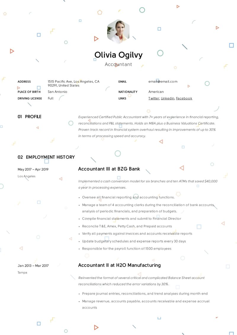 Accountant Creative Sample Resume