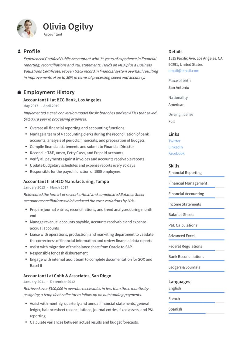 Accountant Sample Resume