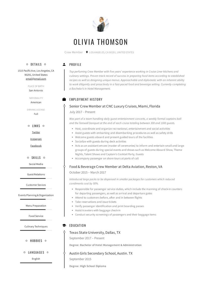 Creative resume crew member