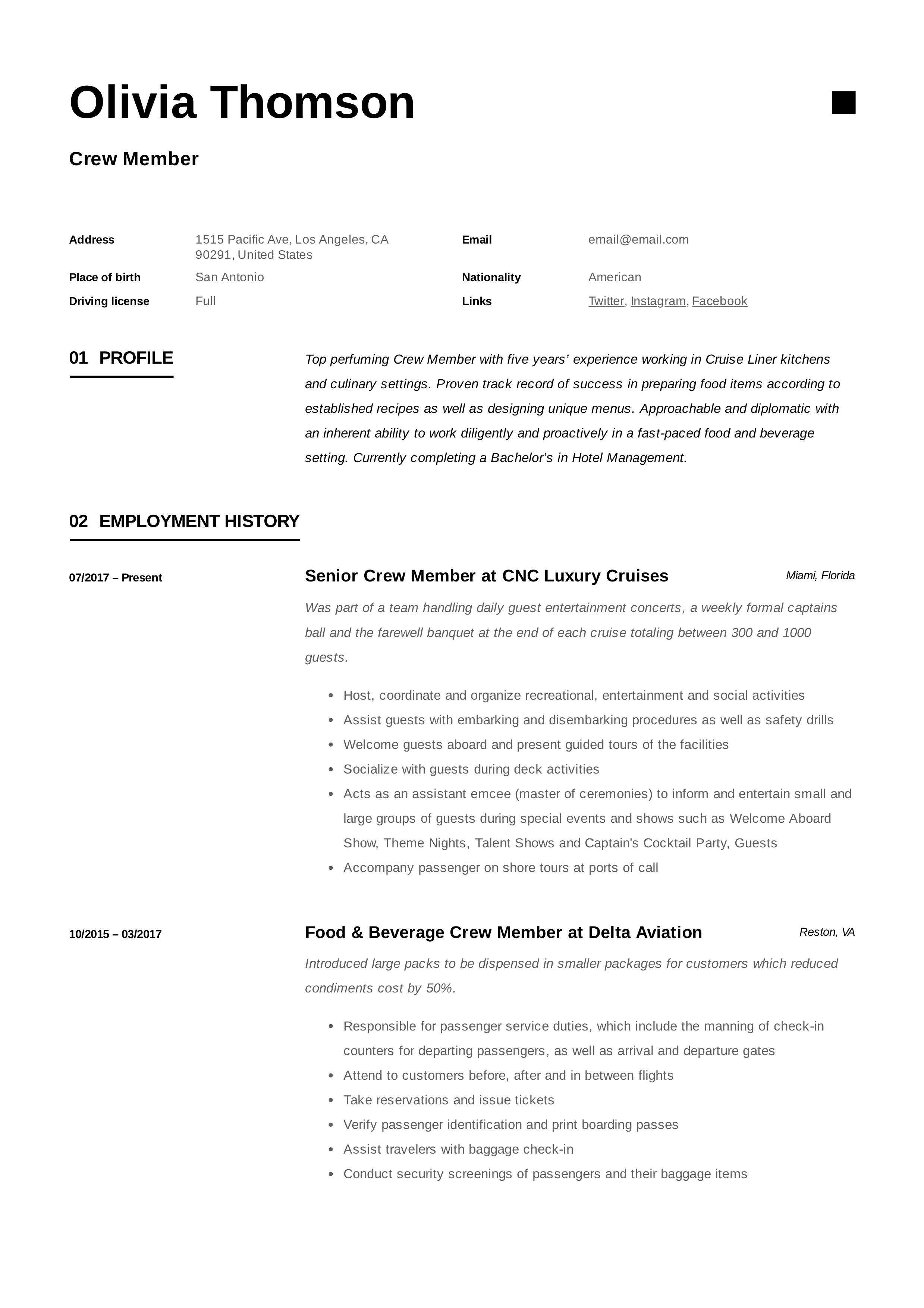 Crew member resume