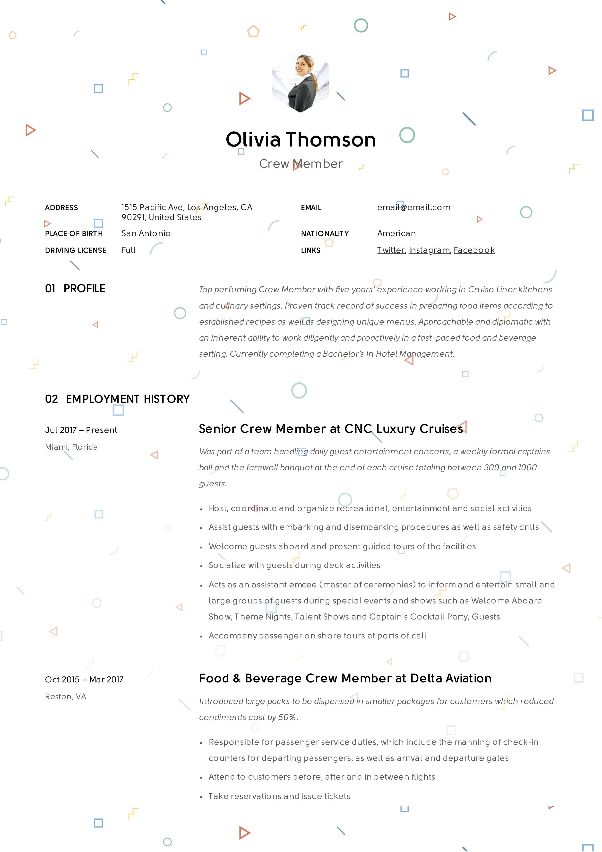 Creative Crew member resume
