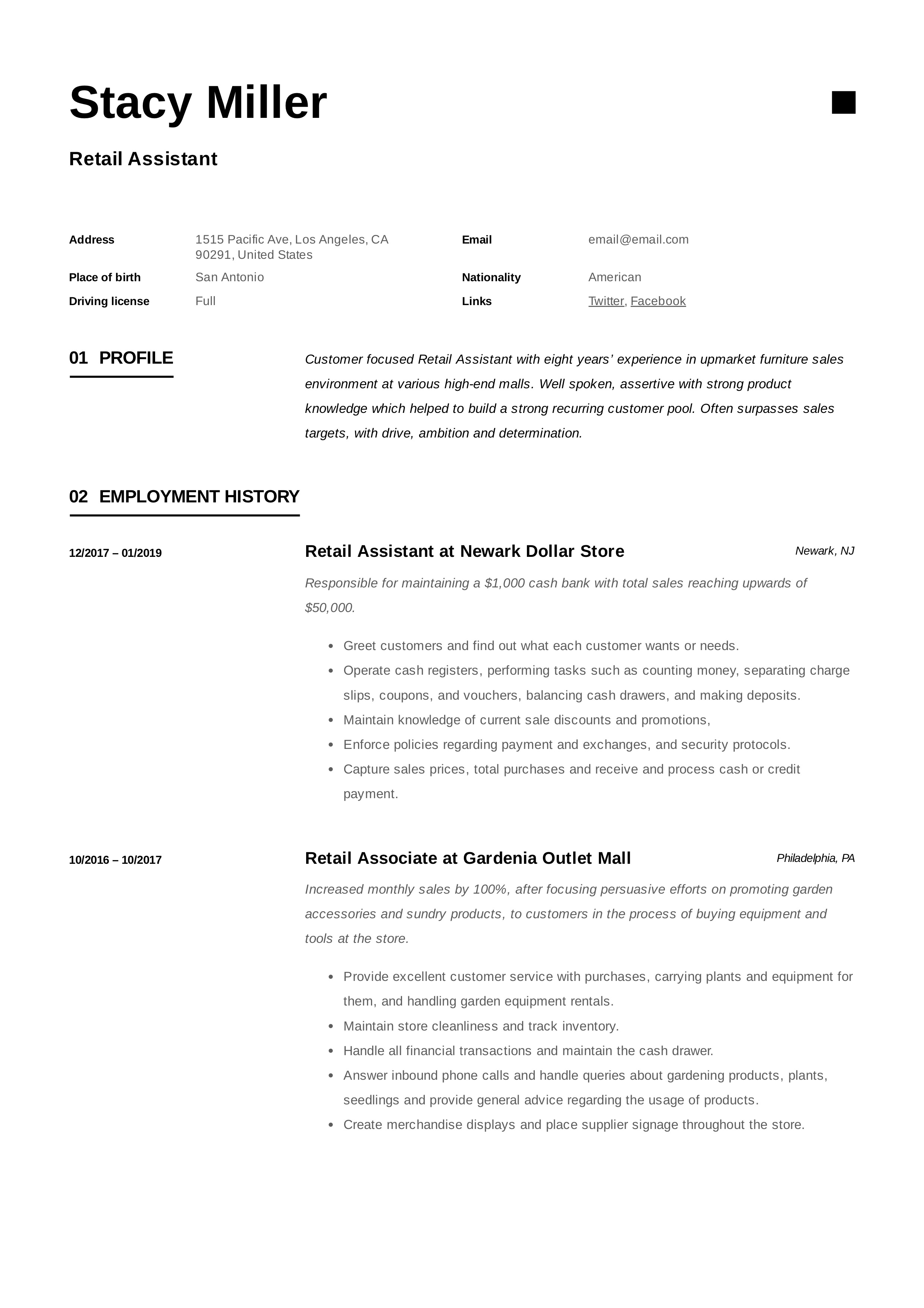 12 Retail Assistant Resume Samples