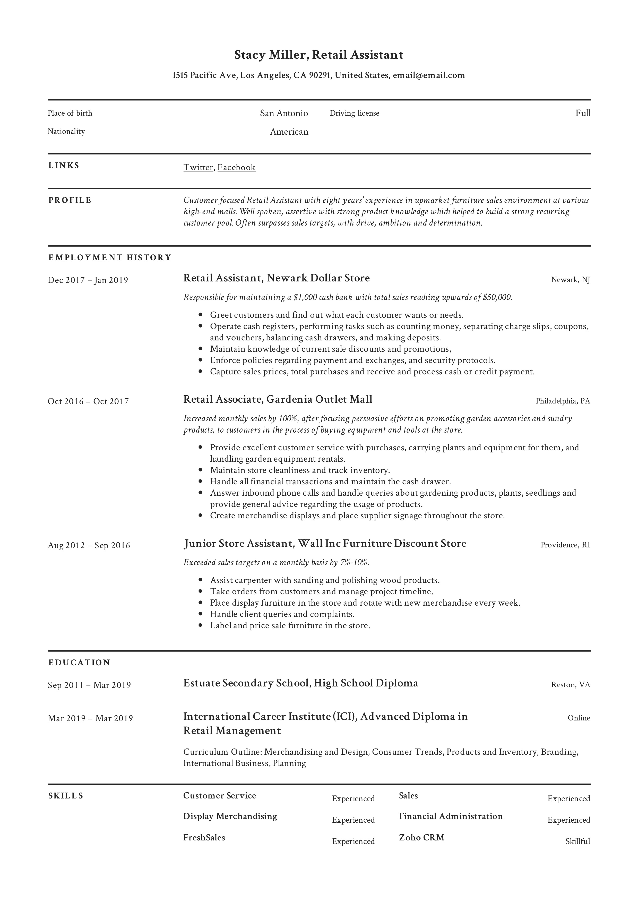 12 Retail Assistant Resume Samples   Writing Guide