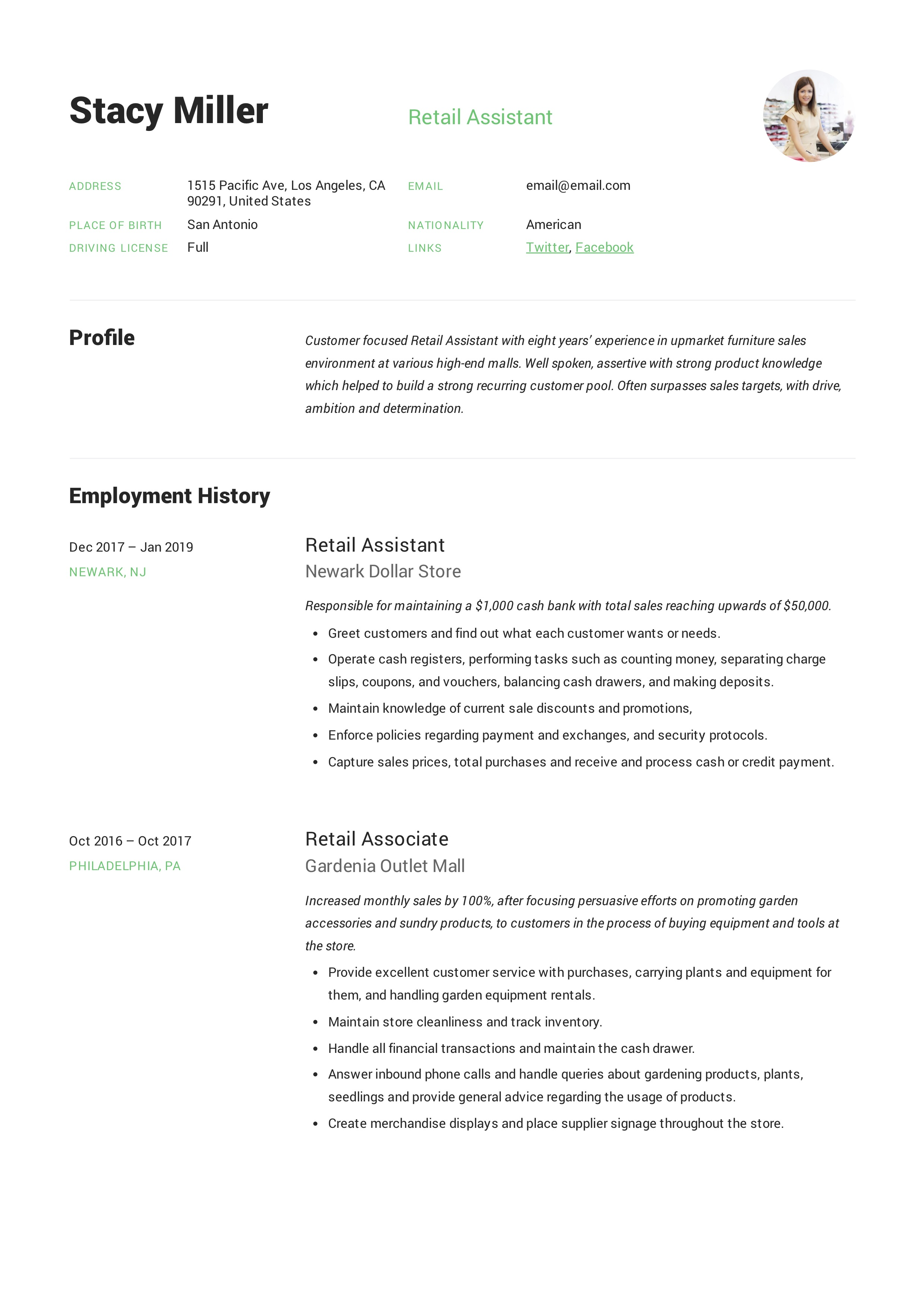 Modern creative Retail Assistant Resume