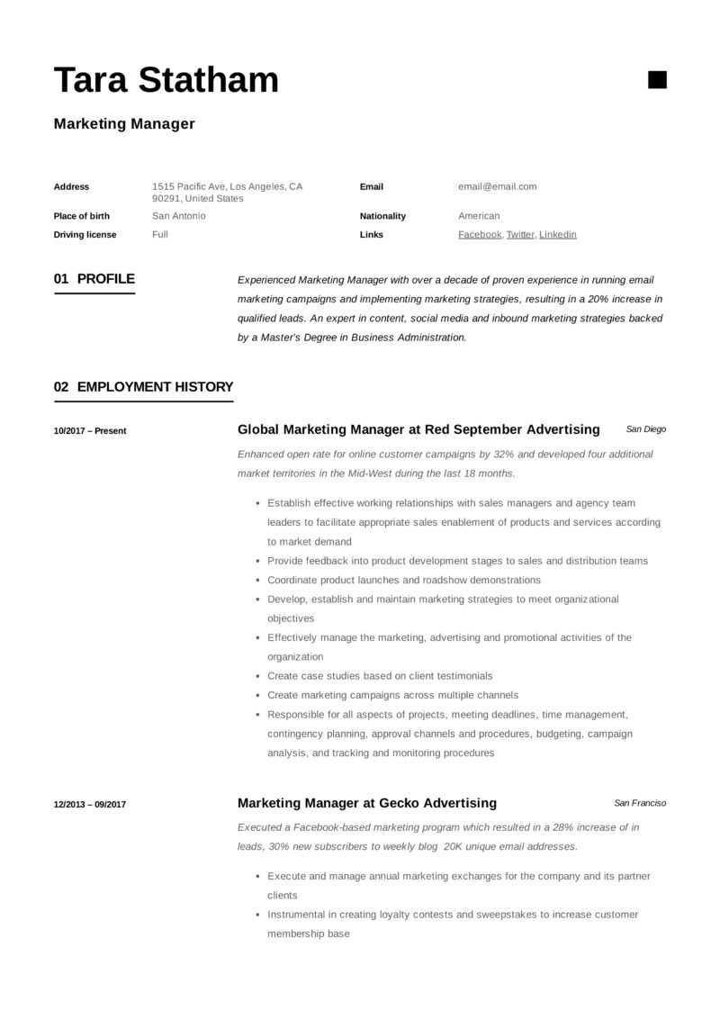 marketing manager resume   writing guide
