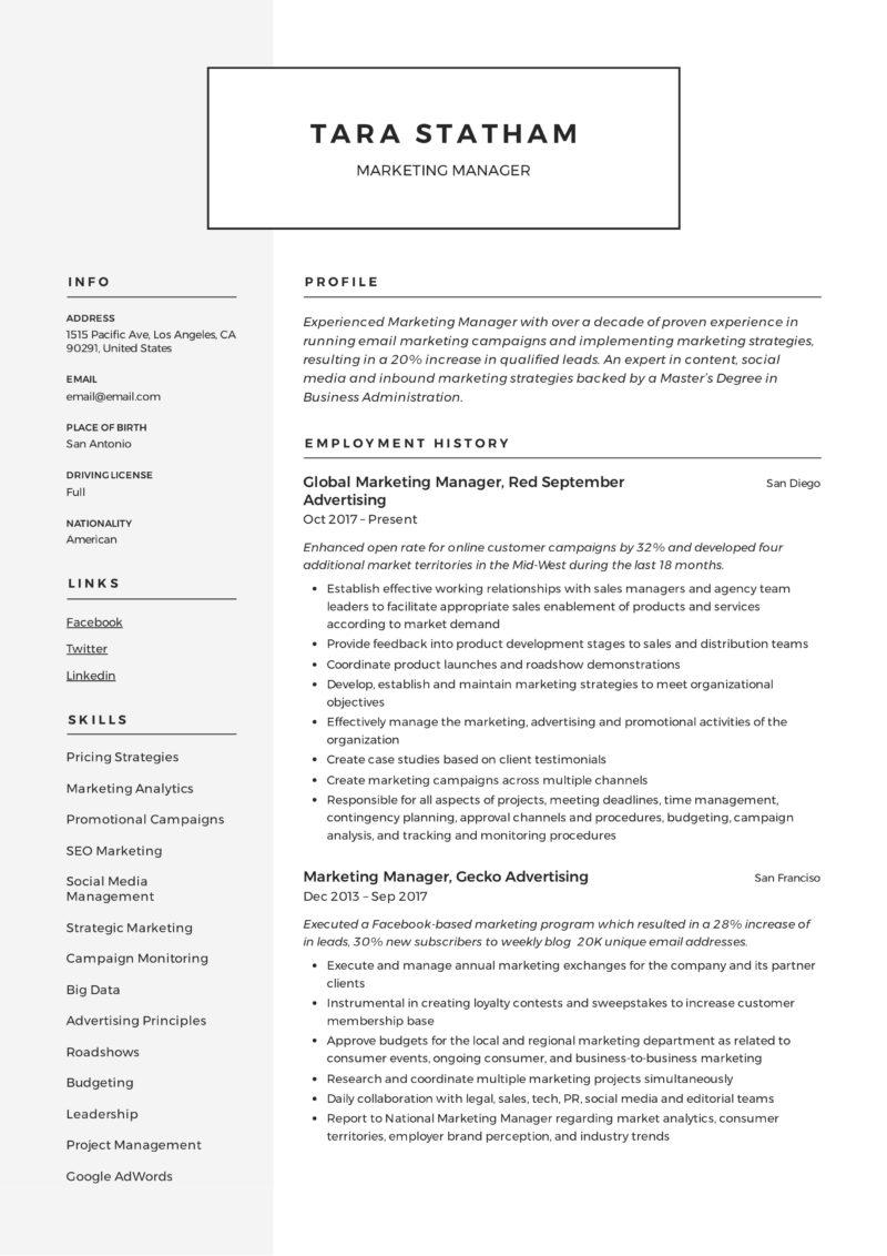 modern marketing manager resume