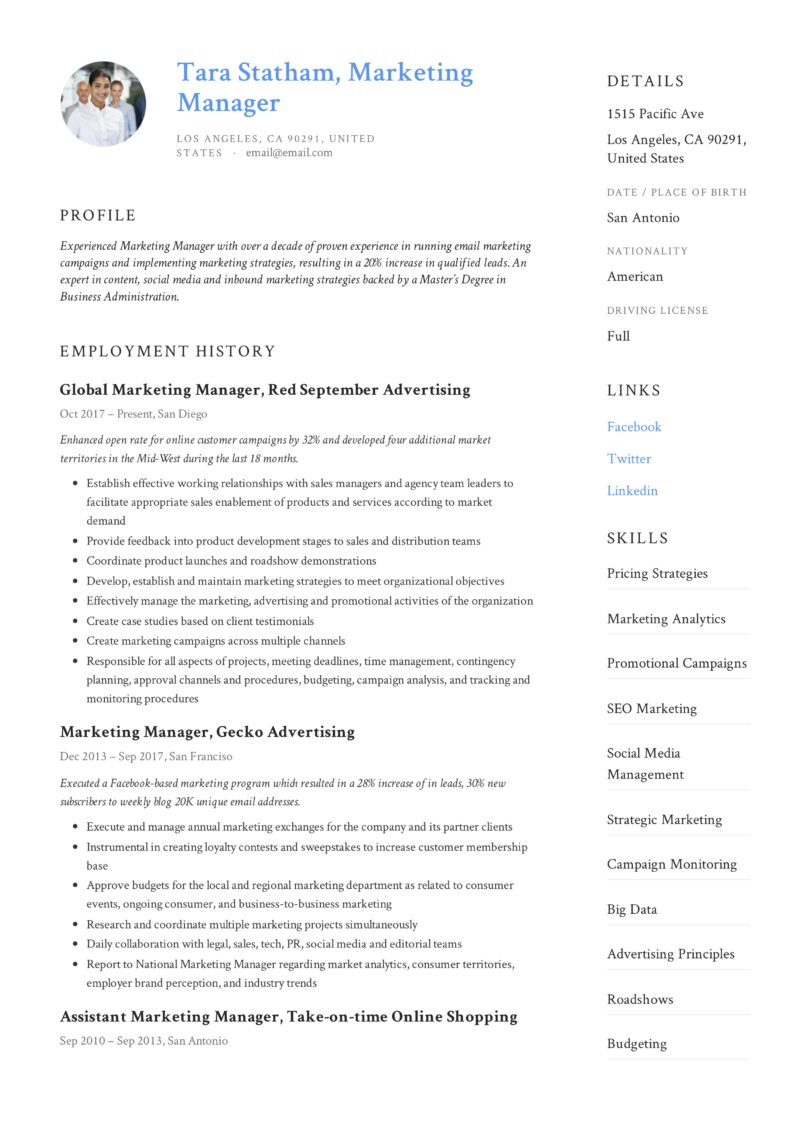 Marketing Manager Resume + Writing Guide | 12 TEMPLATES | 2019