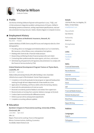 Graduate Trainee Resume