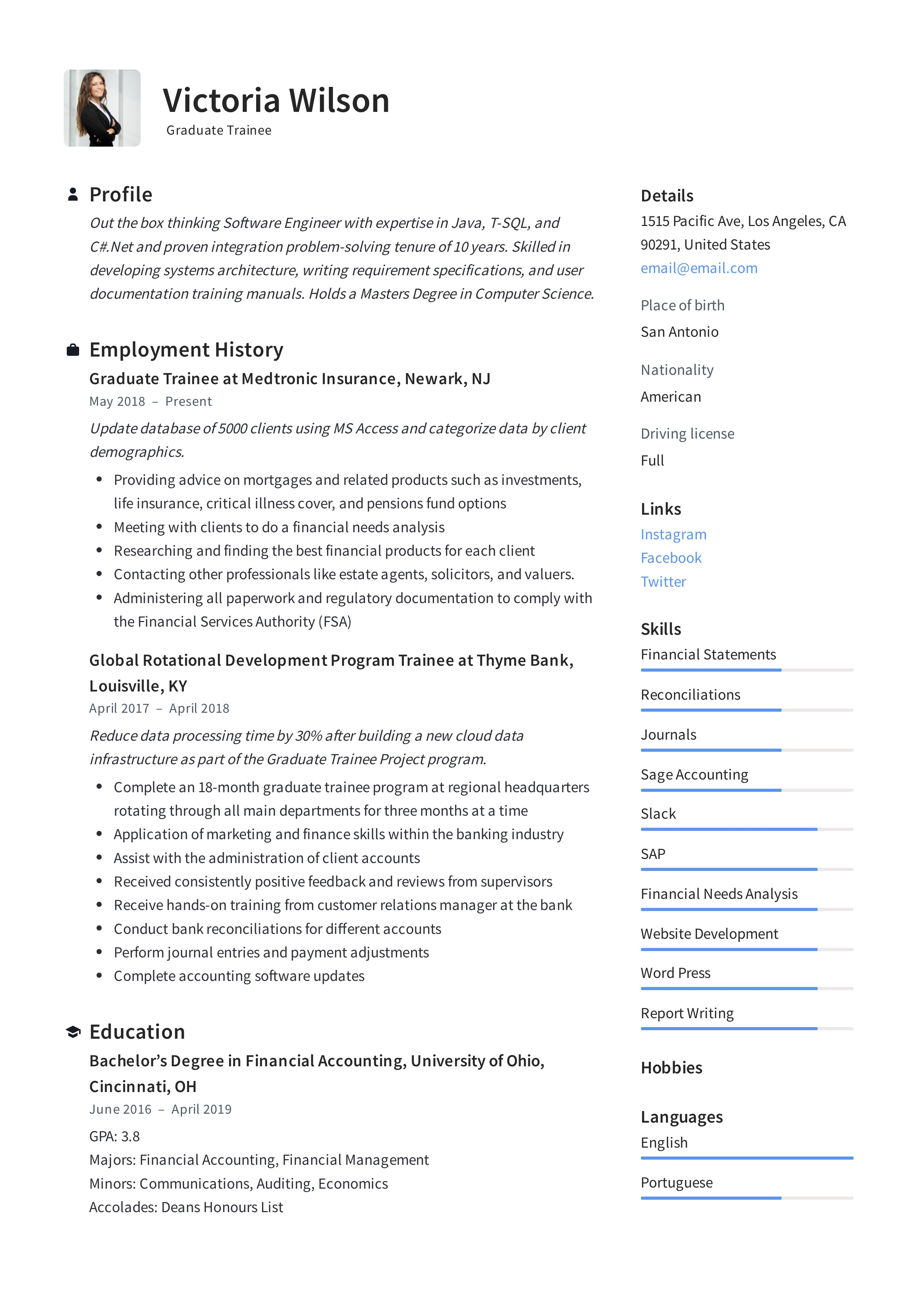 Download Graduate Trainee Resume Examples In PDF