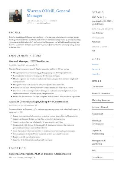 General Manager Design Resume