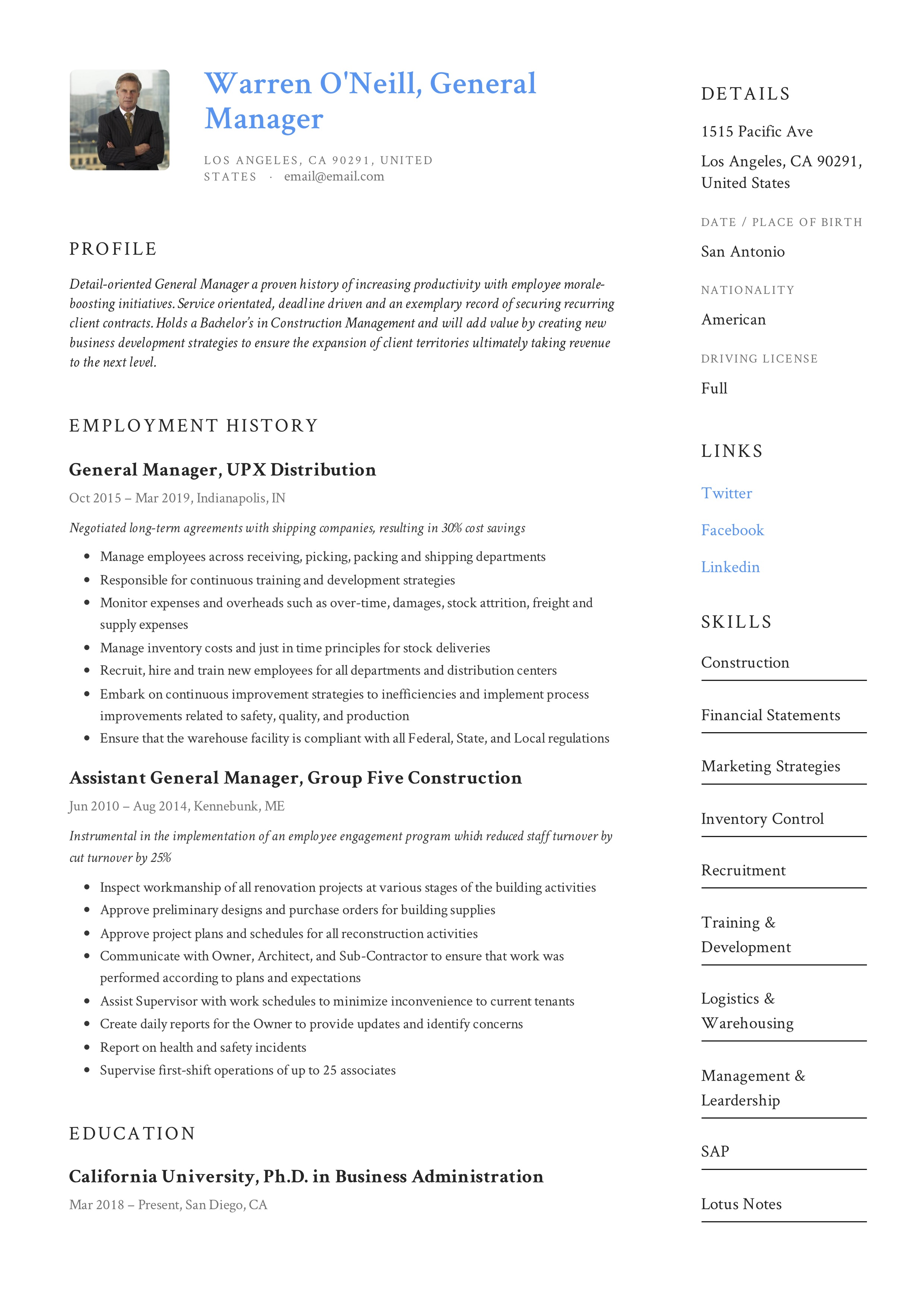 general manager resume  writing guide  12 resume