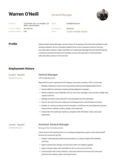 General Manager Resume Sample