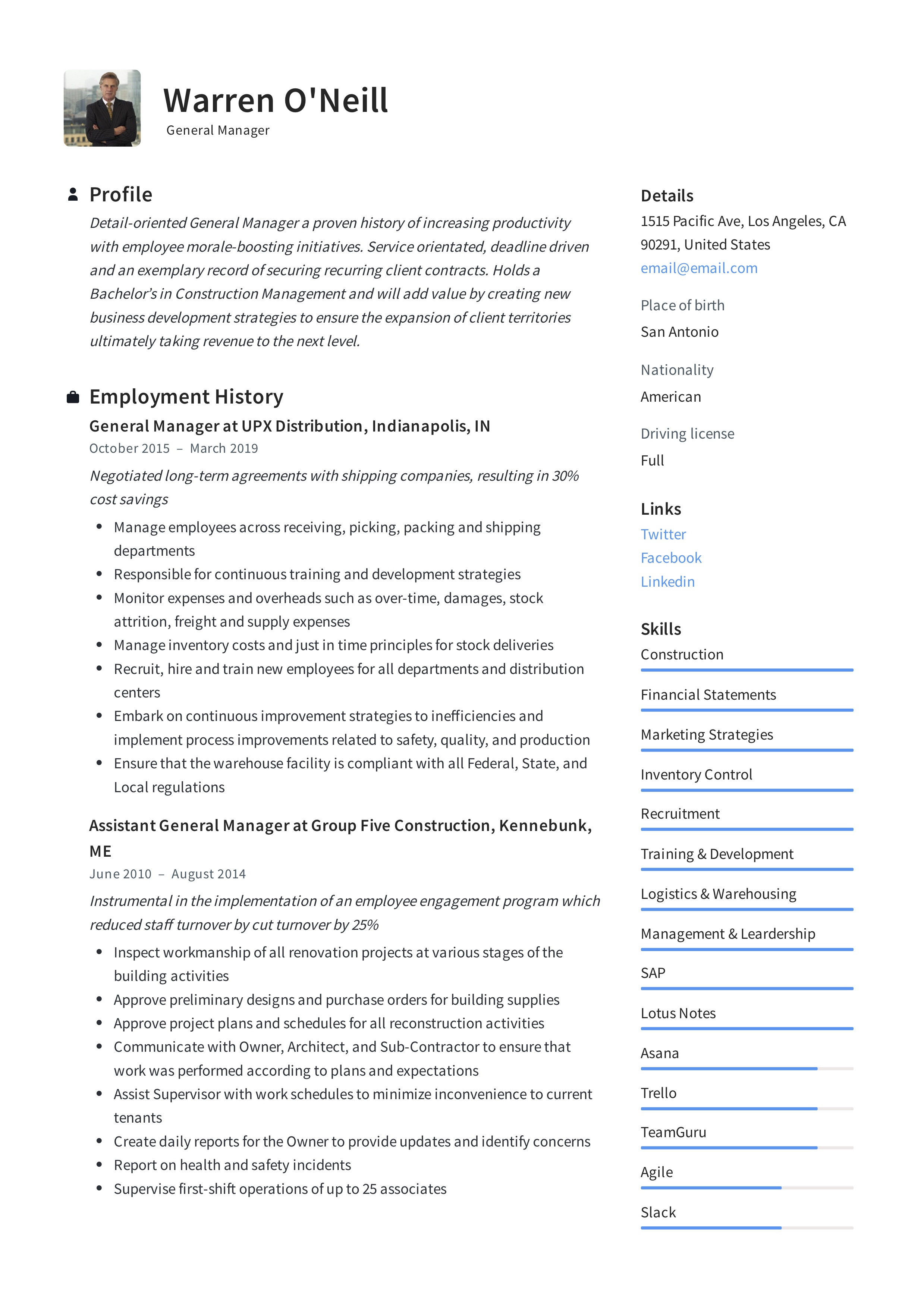General Manager Resume Writing Guide
