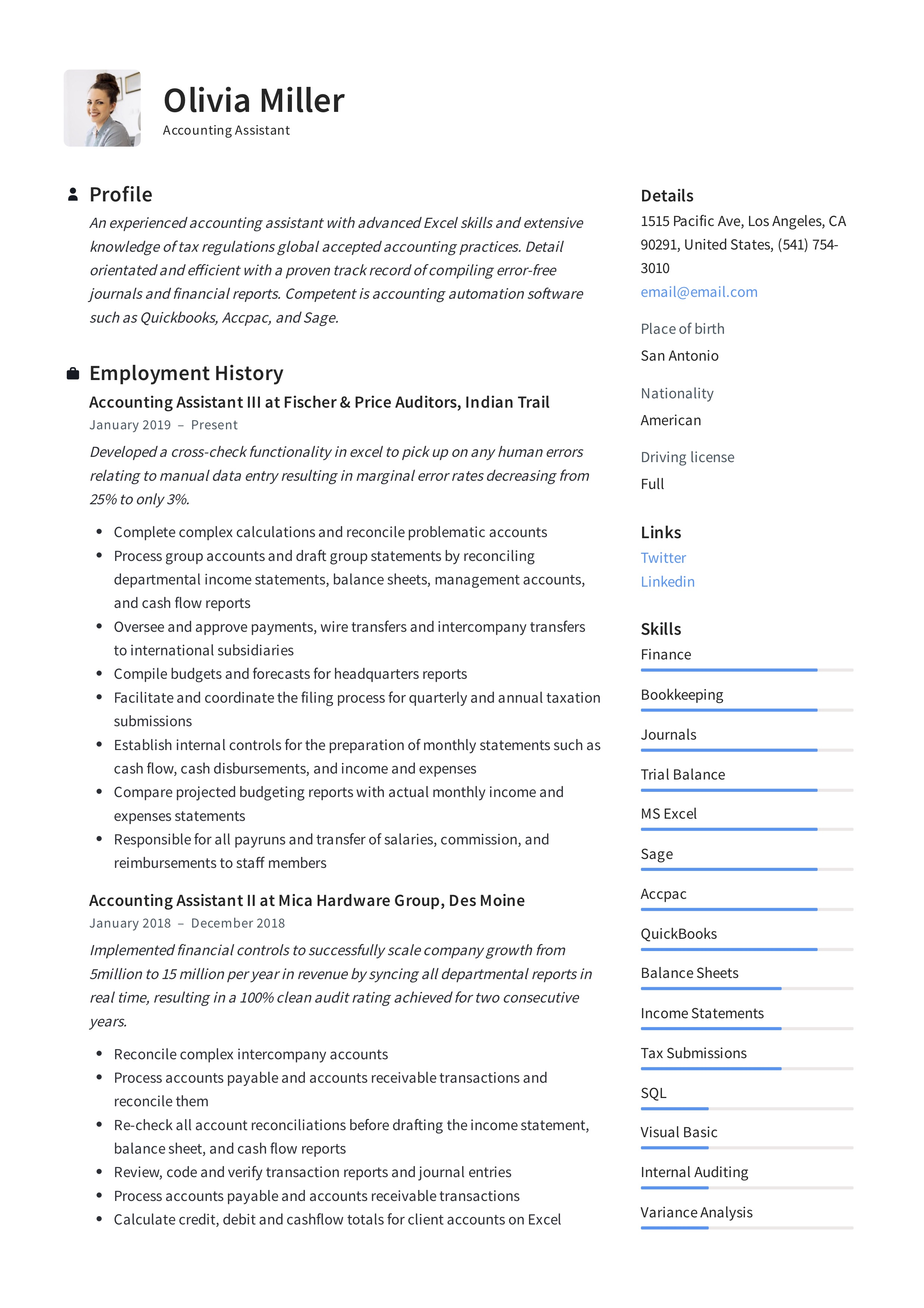 Accounting Assistant Resume Amp Writing Guide 12 Examples