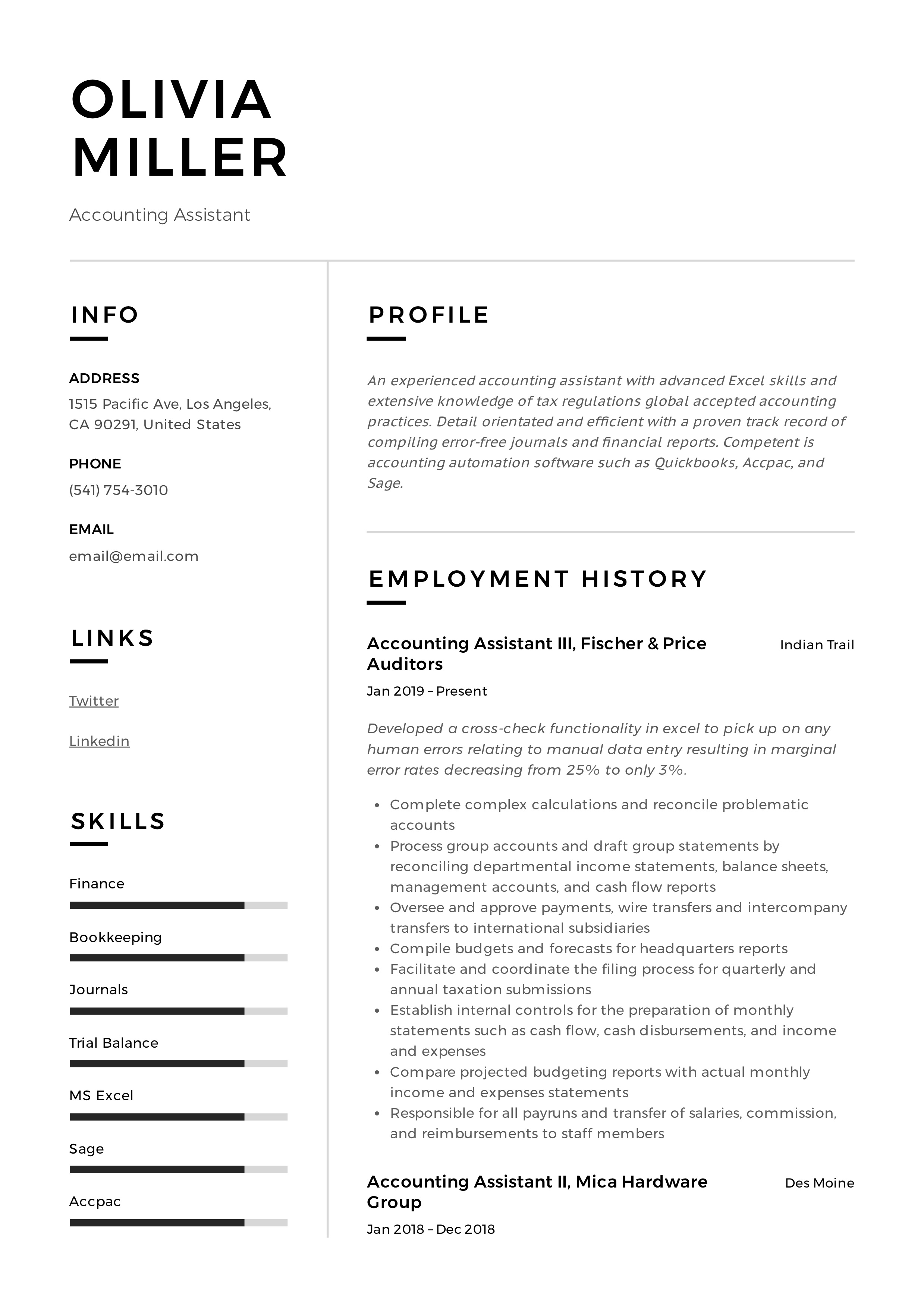 accounting assistant resume  u0026 writing guide