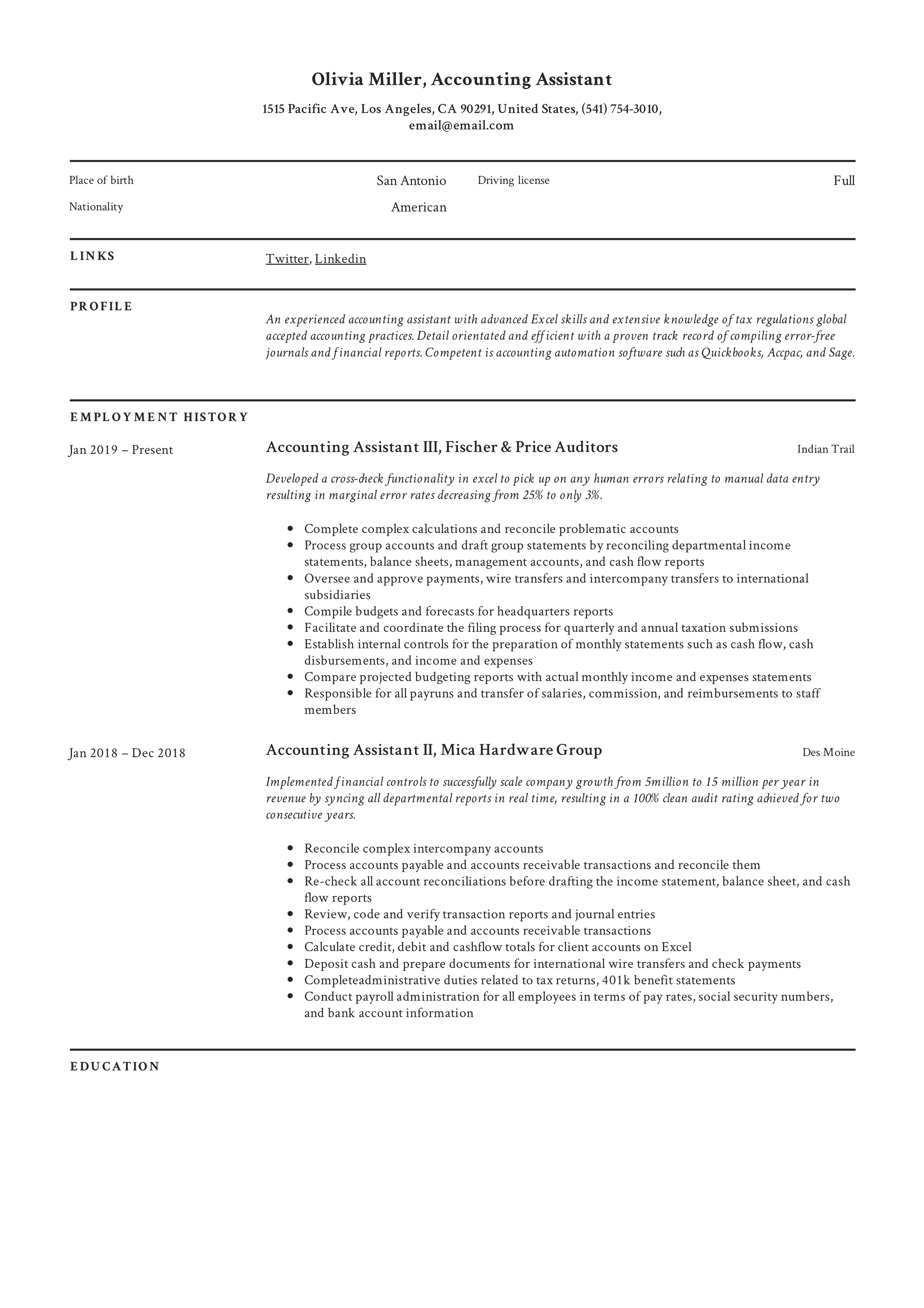 Account Assistant Resume Template