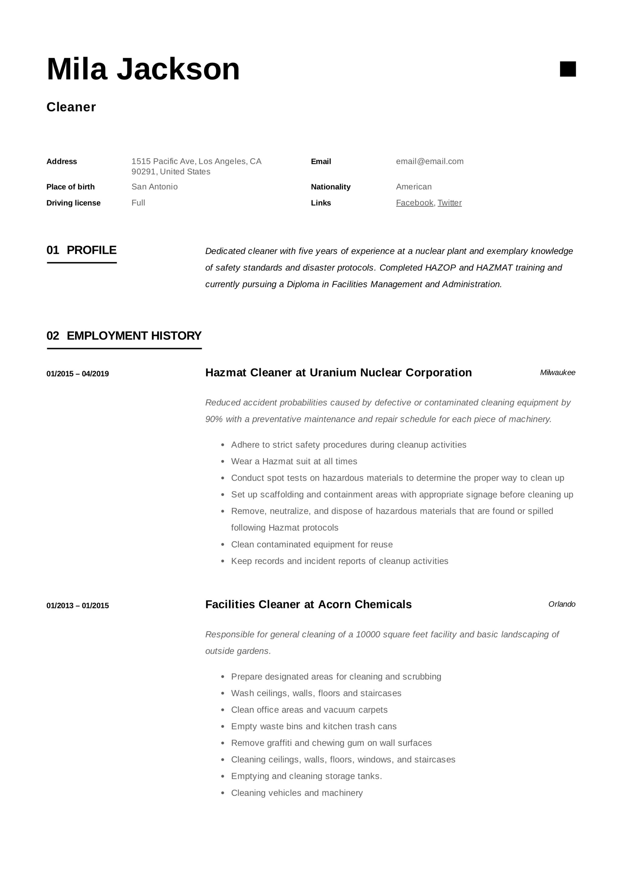 cleaner resume  u0026 writing guide