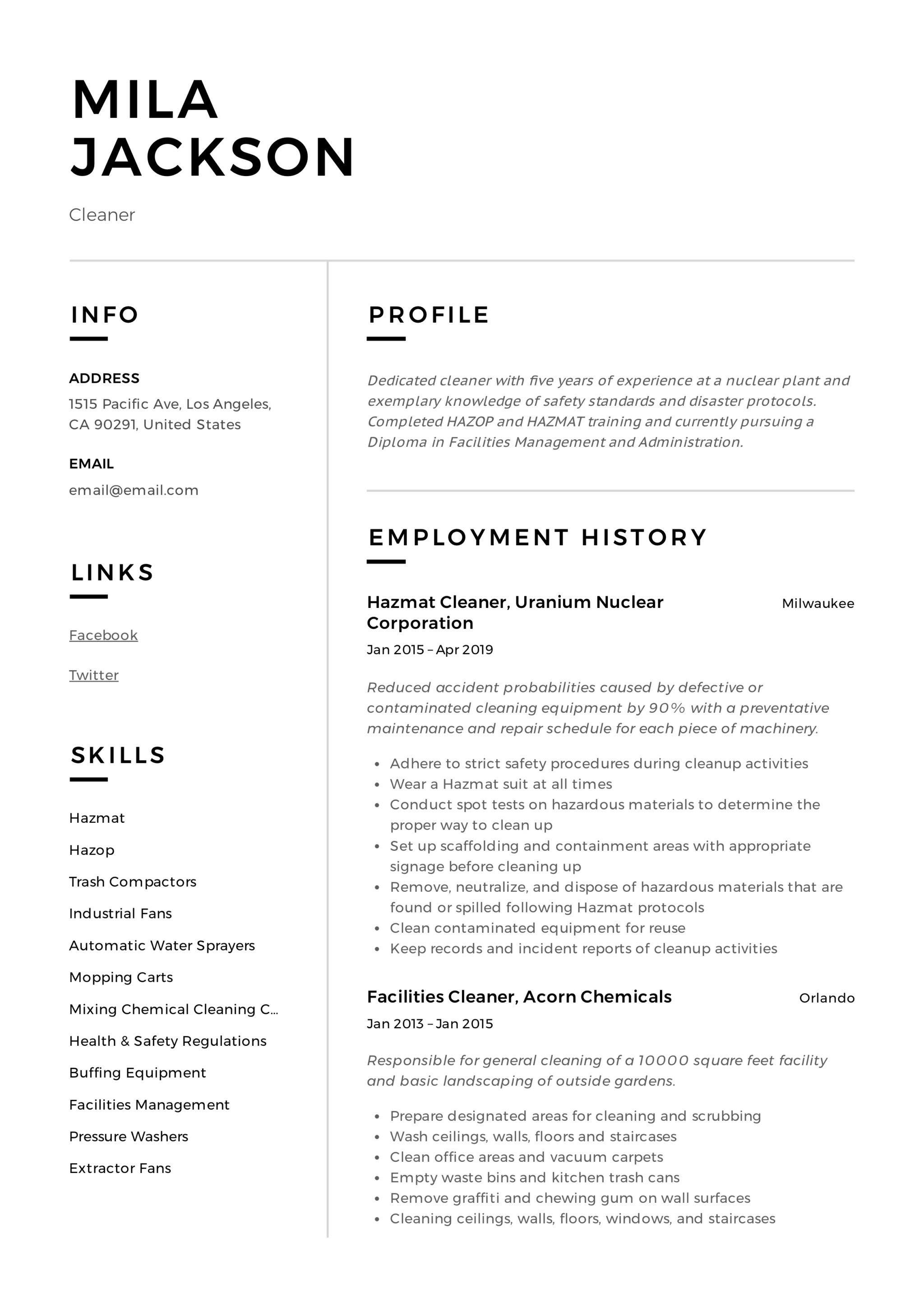 Cleaner Resume & Writing Guide | +12 TEMPLATES | PDF | '19