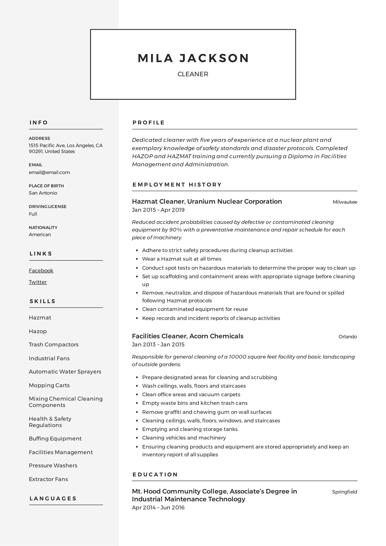 Cleaner Resume