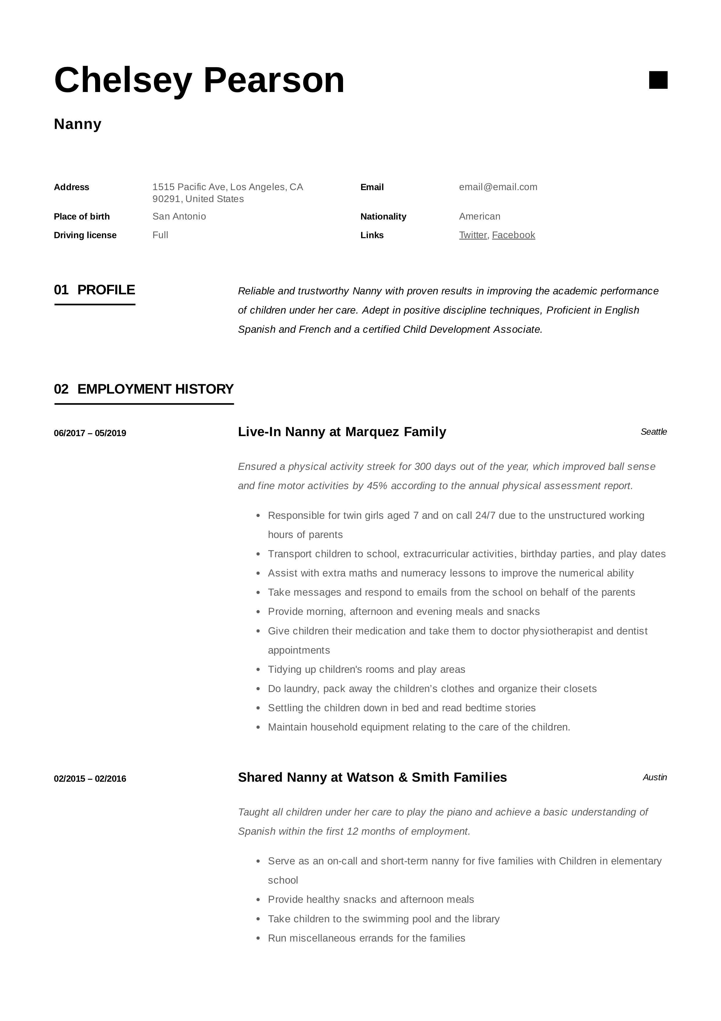 nanny resume  u0026 writing guide