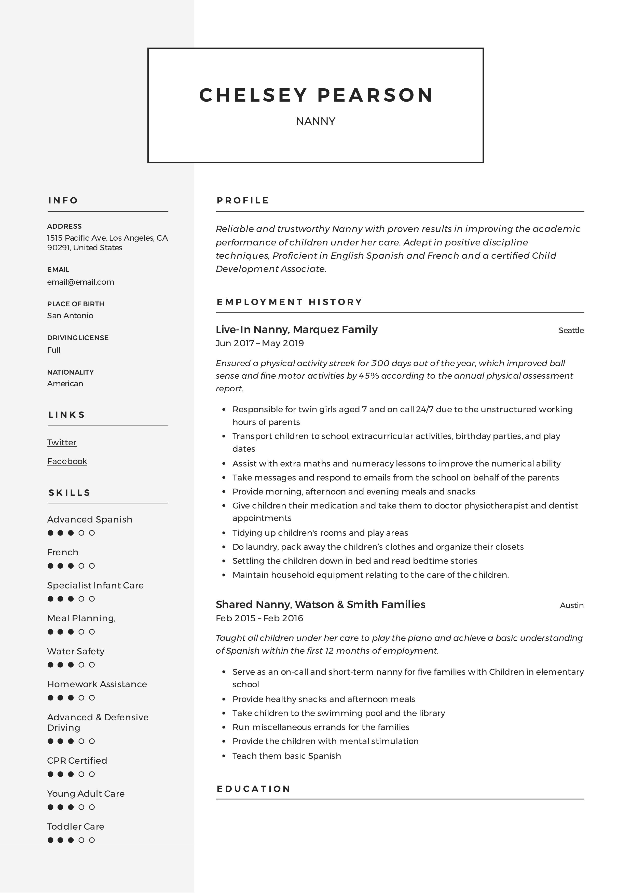 Nanny Modern Resume