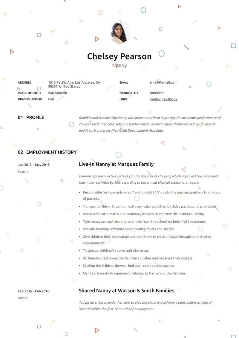 nanny resume  u0026 writing guide