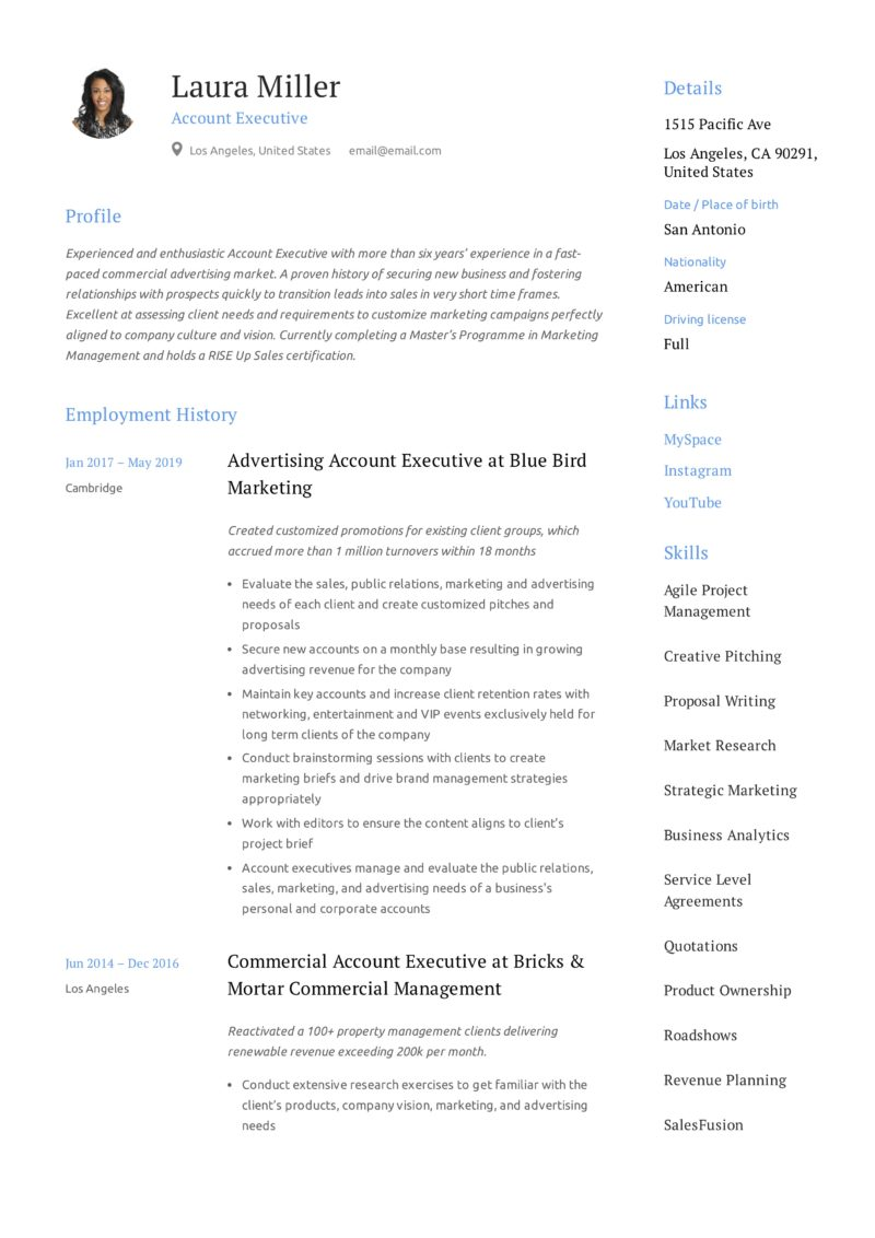 Design Resume Account Executive