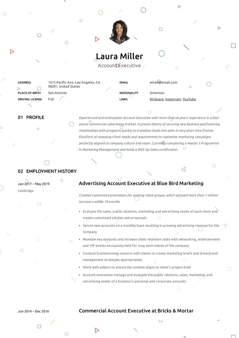 Creative Resume Example Account Executive