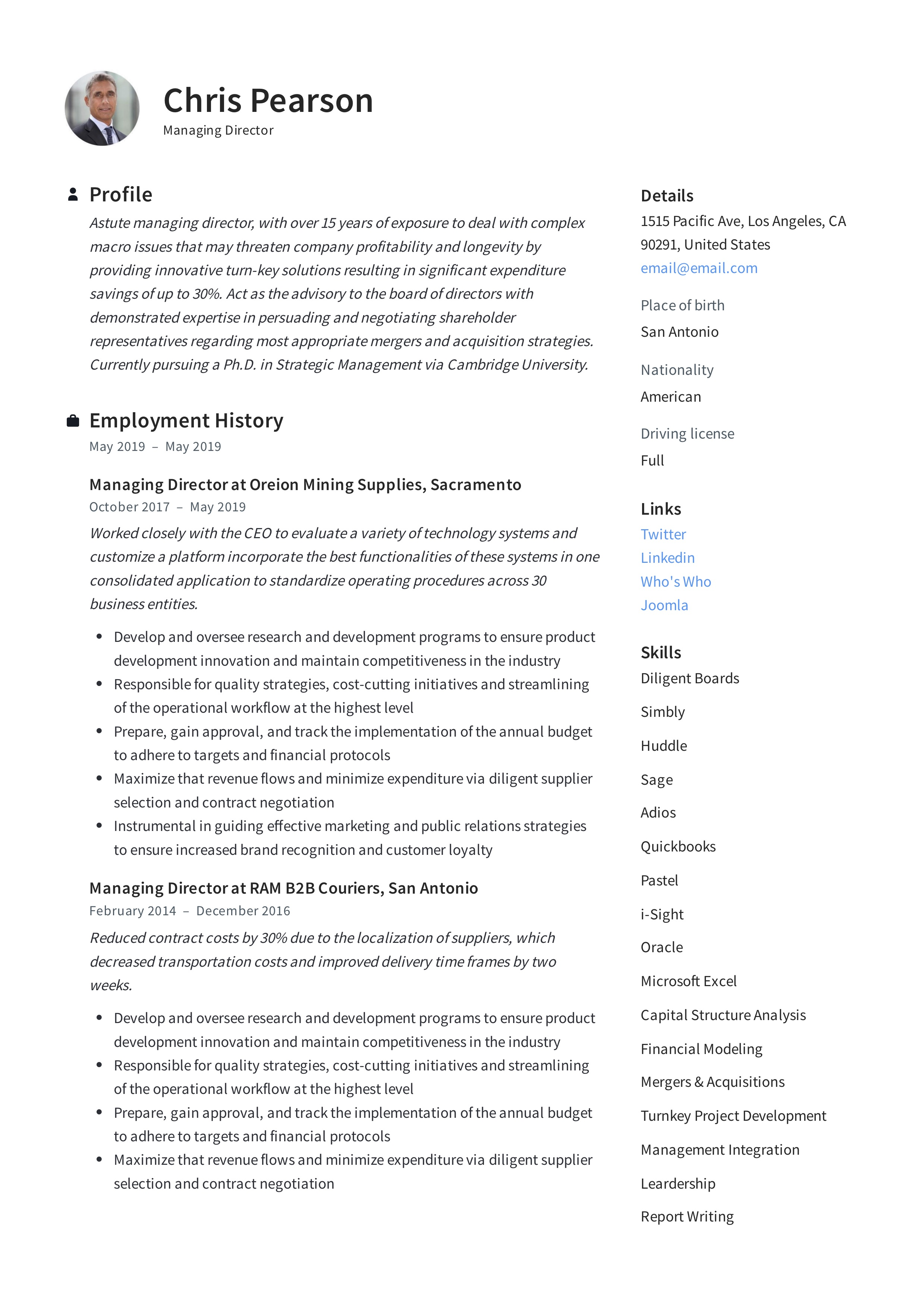 Managing Director Resume & Writing Guide | +12 Examples | PDF |