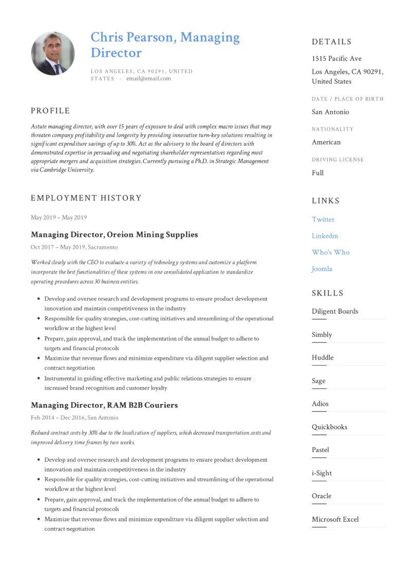managing director resume  u0026 writing guide