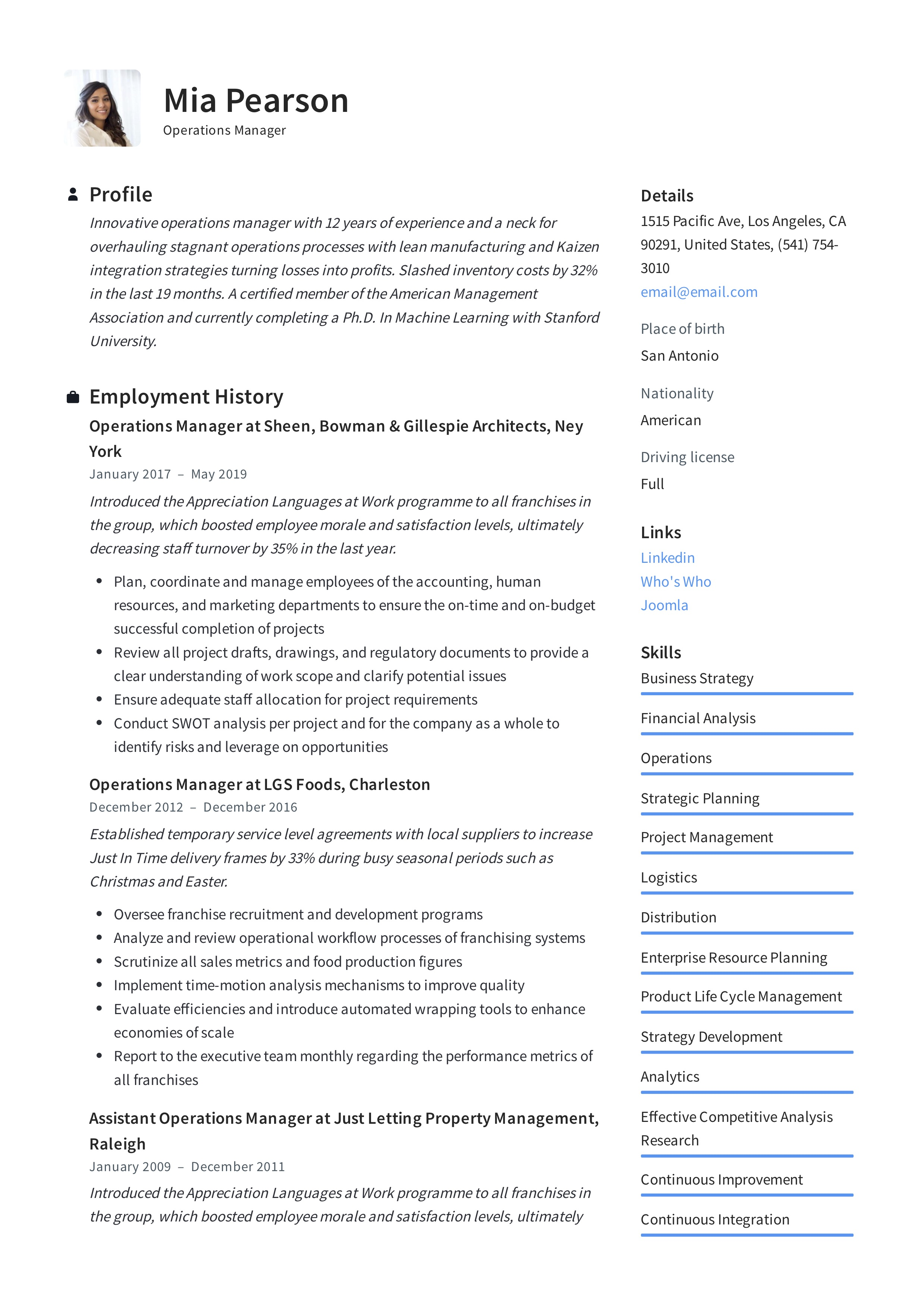 Example Resume Operations Manager