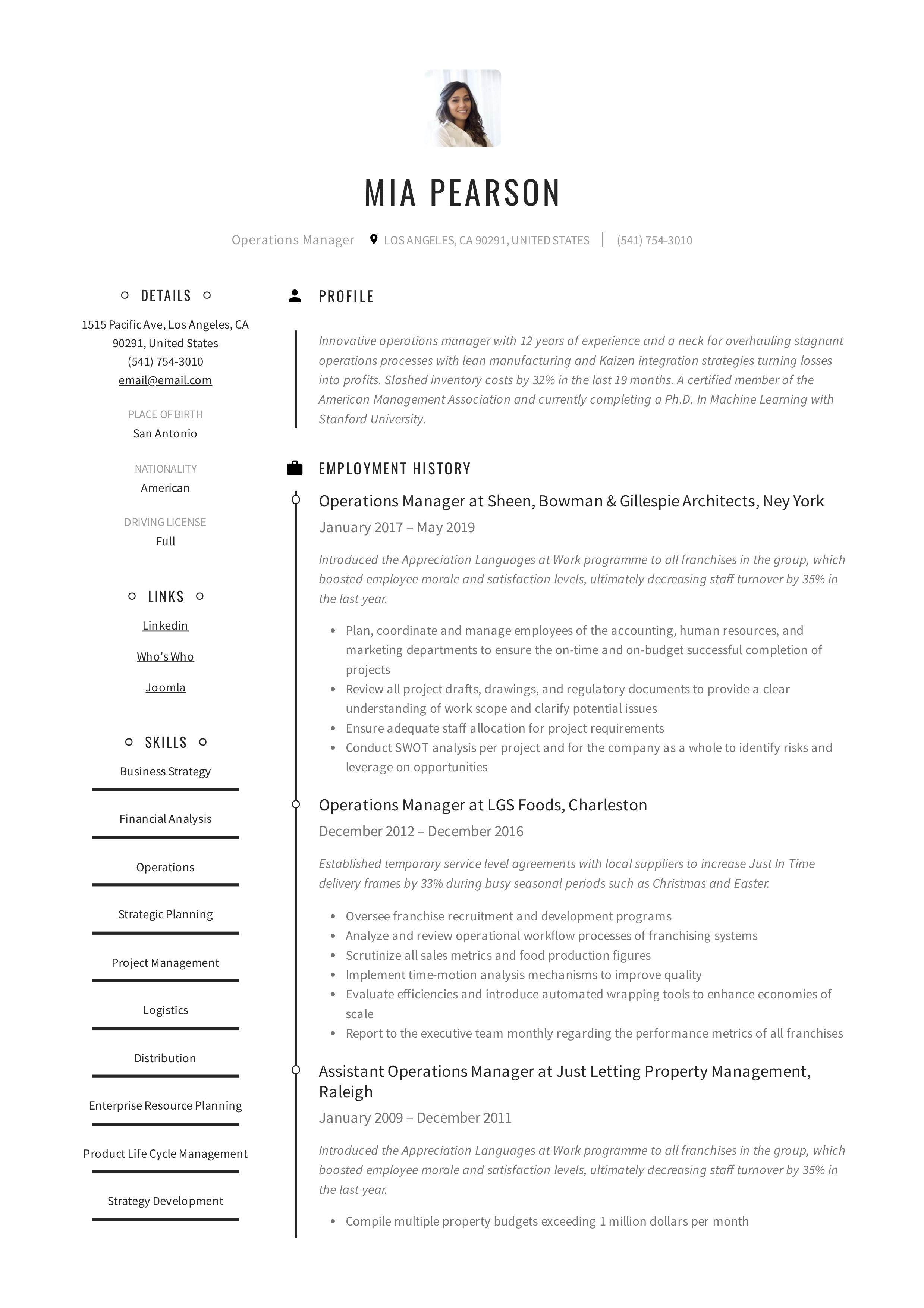 Operations Manager Resume & Writing Guide | +12 Examples | PDF |