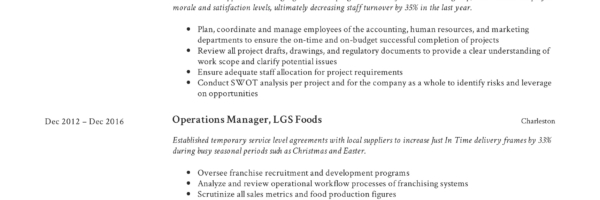 Operations Manager Resume & Writing Guide   +12 Examples   PDF  