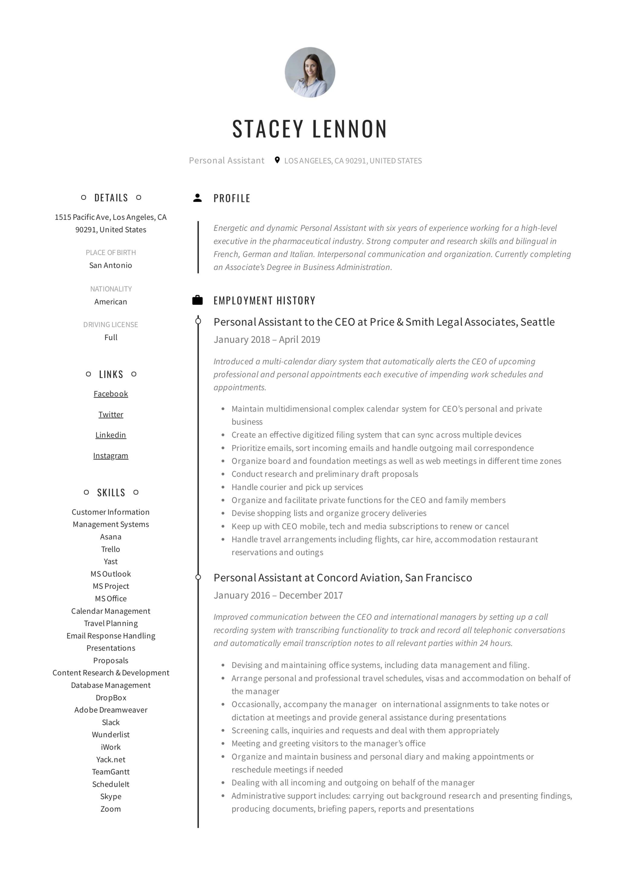 personal assistant resume  u0026 writing guide