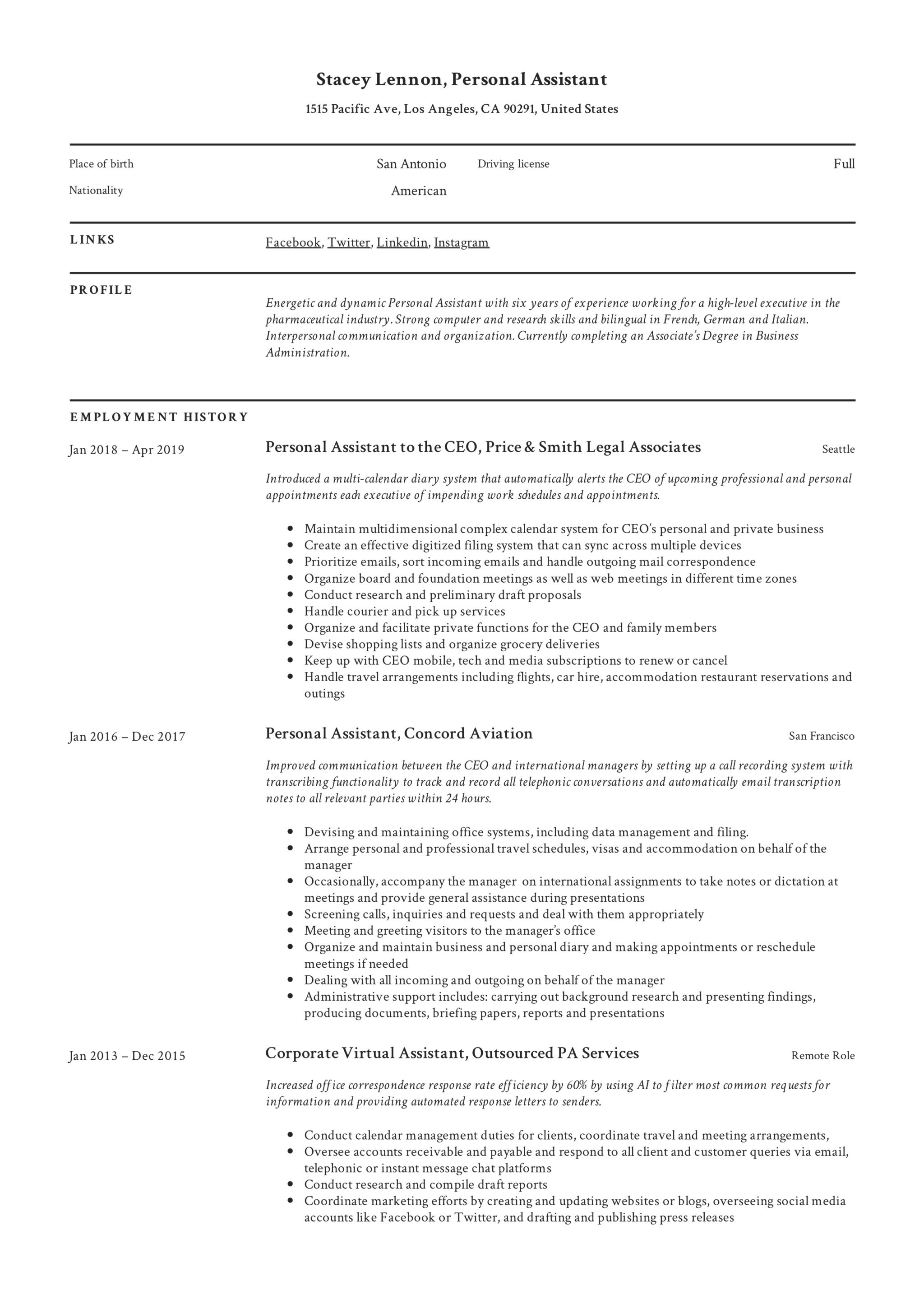 Personal Assistant Resume  amp  Writing