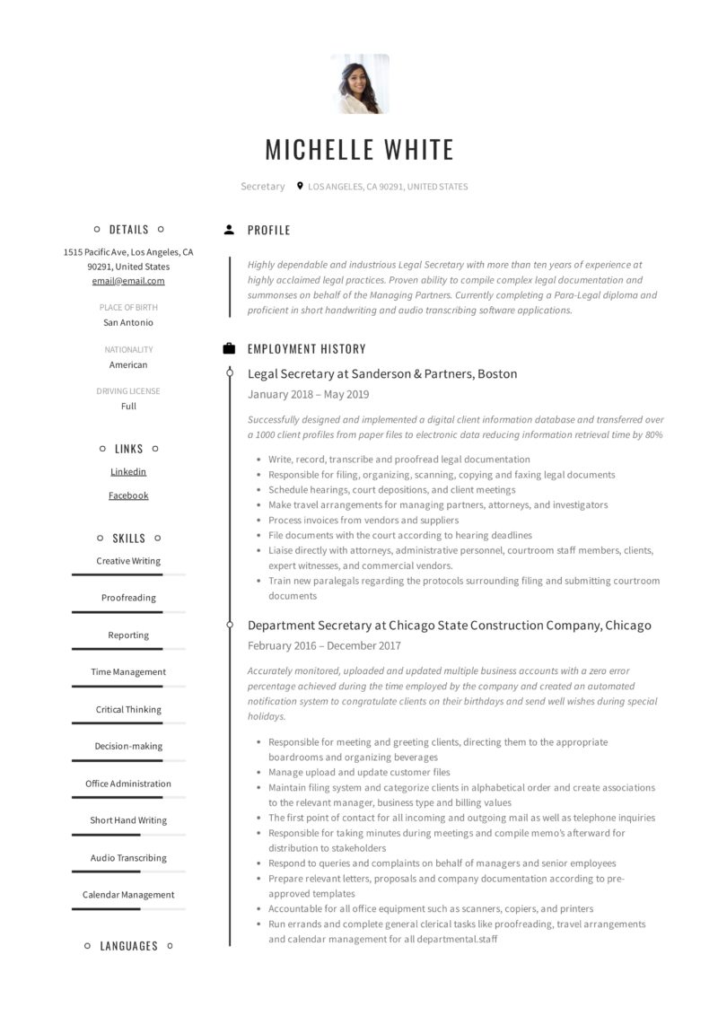 design Secretary Resume