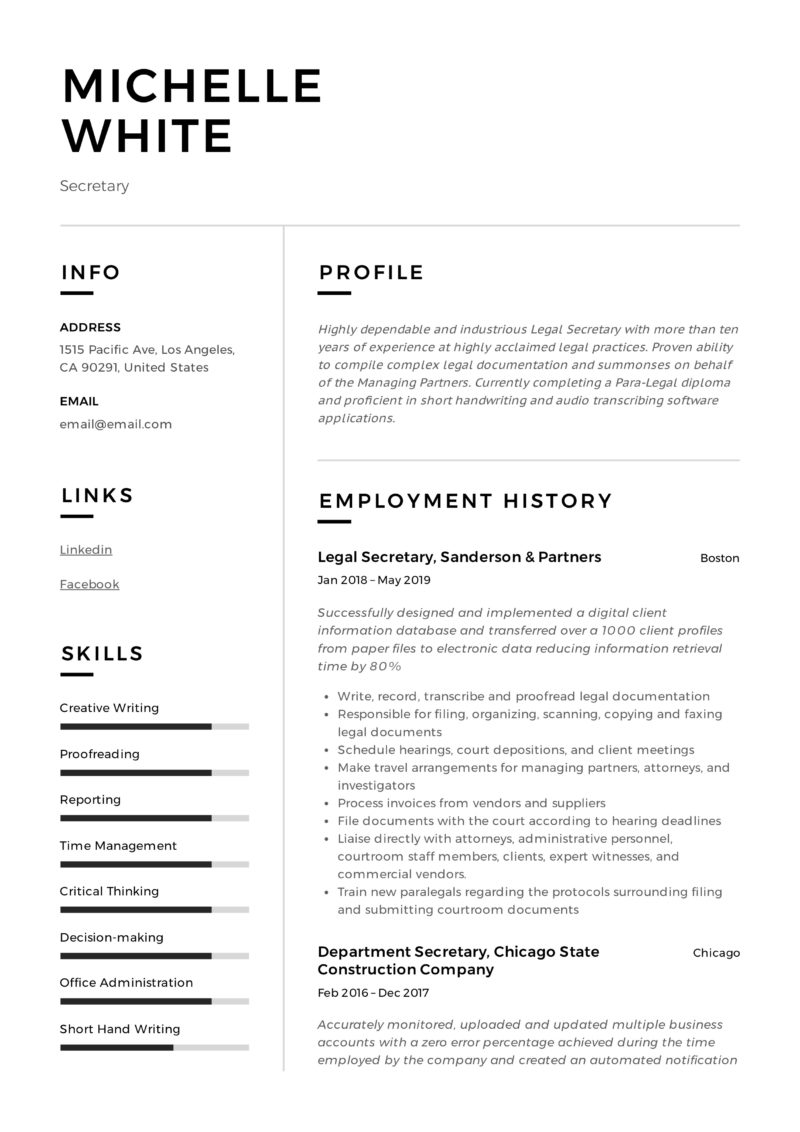 Modern Secretary Resume