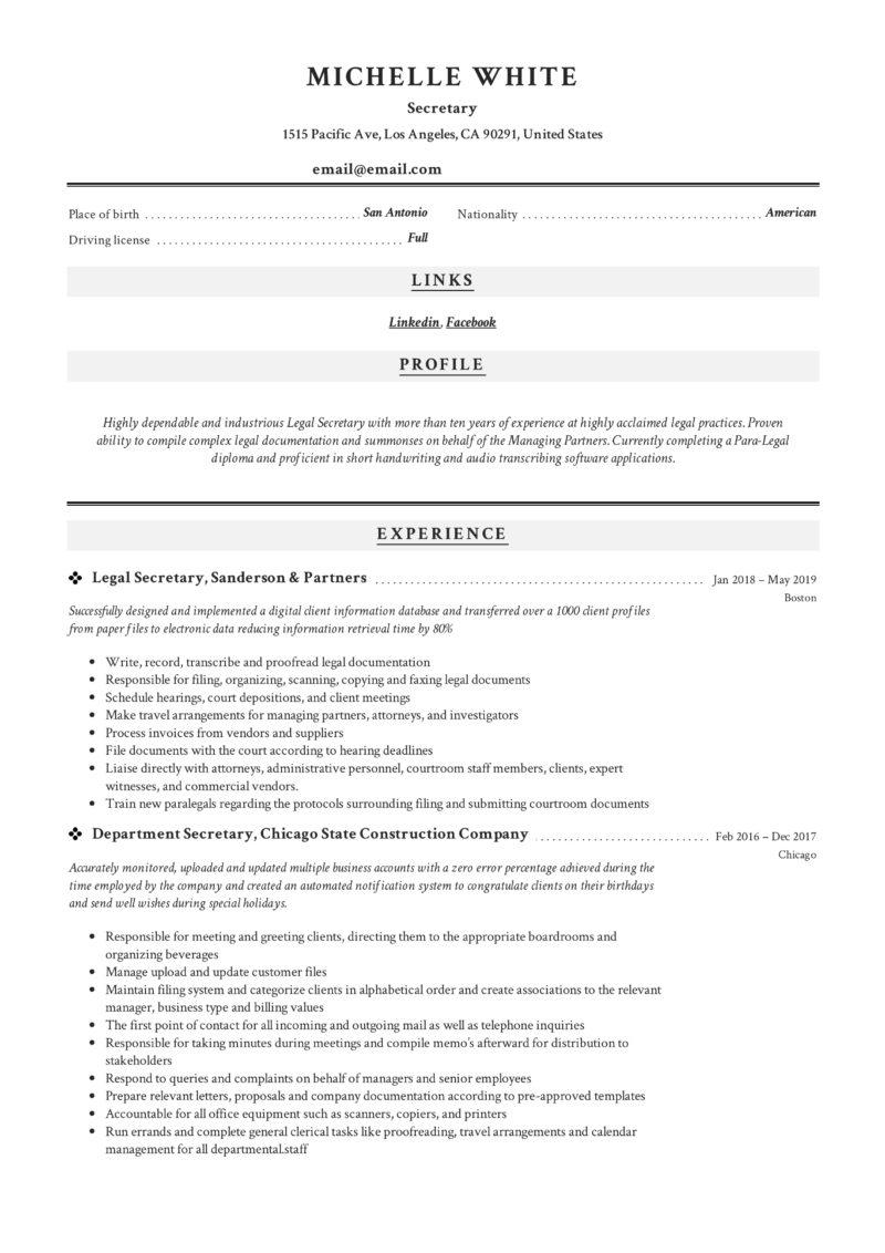 Classic Secretary Resume