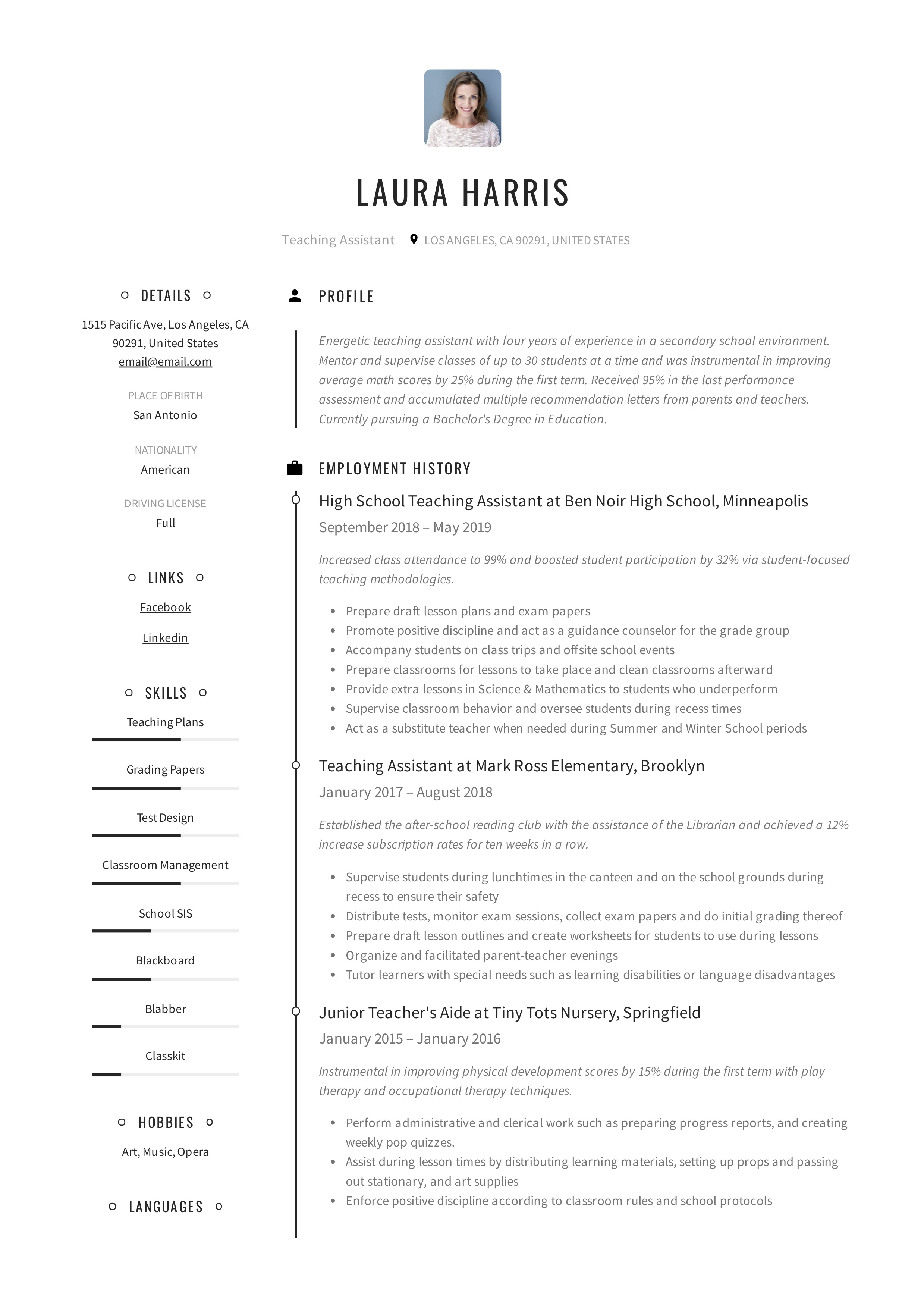 teaching assistant resume  u0026 writing guide