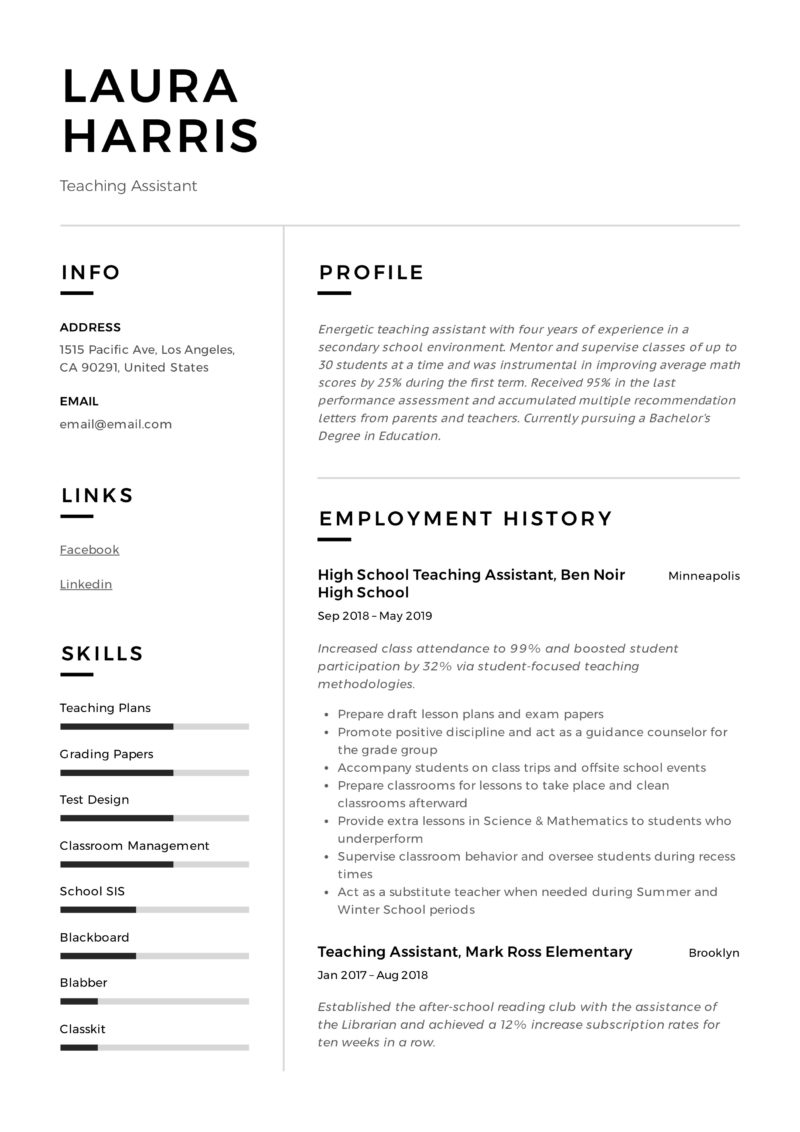 Teaching Assistant Resume Example pdf