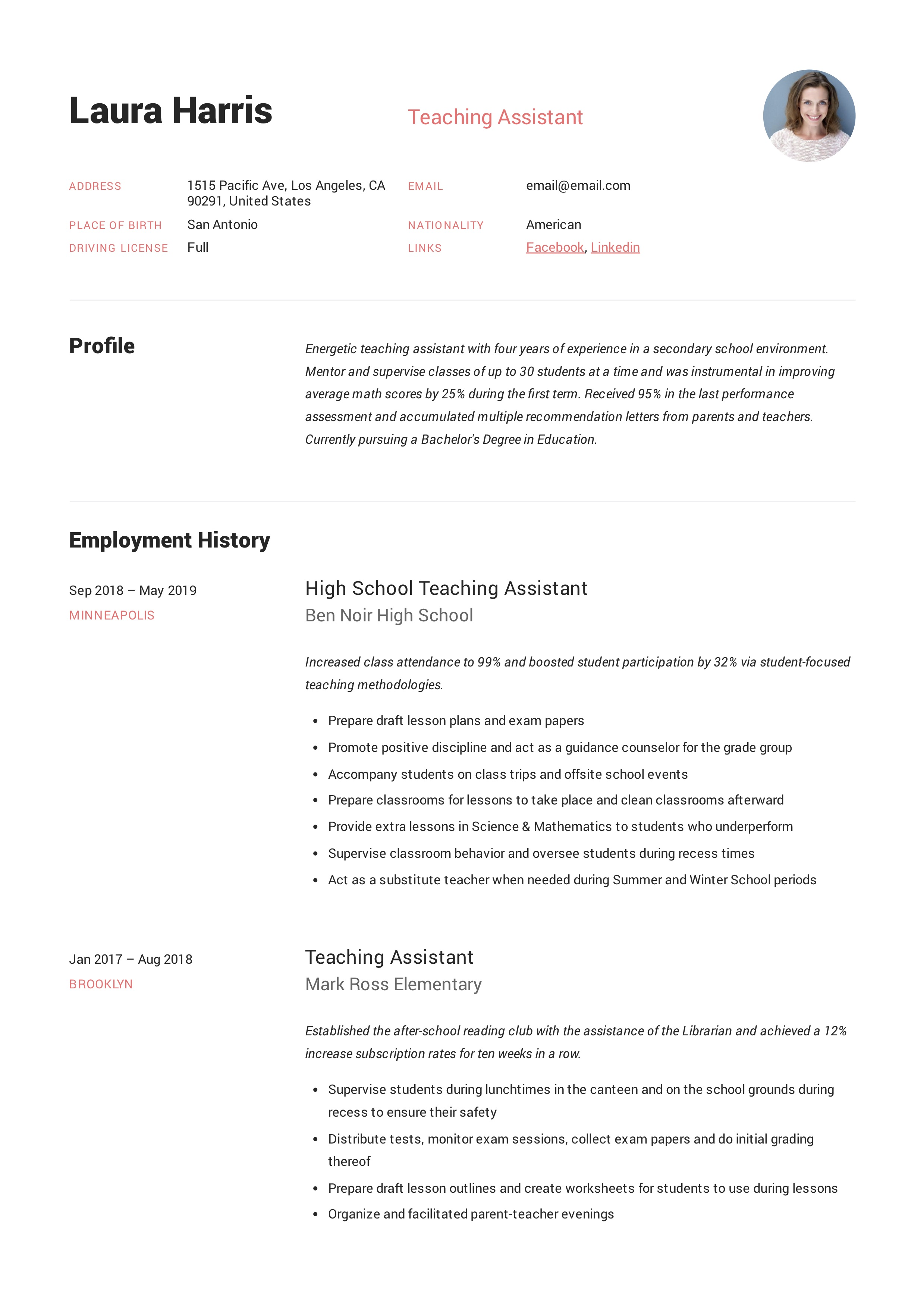 Teaching Assistant Resume & Writing Guide | +12 TEMPLATES | PDF |