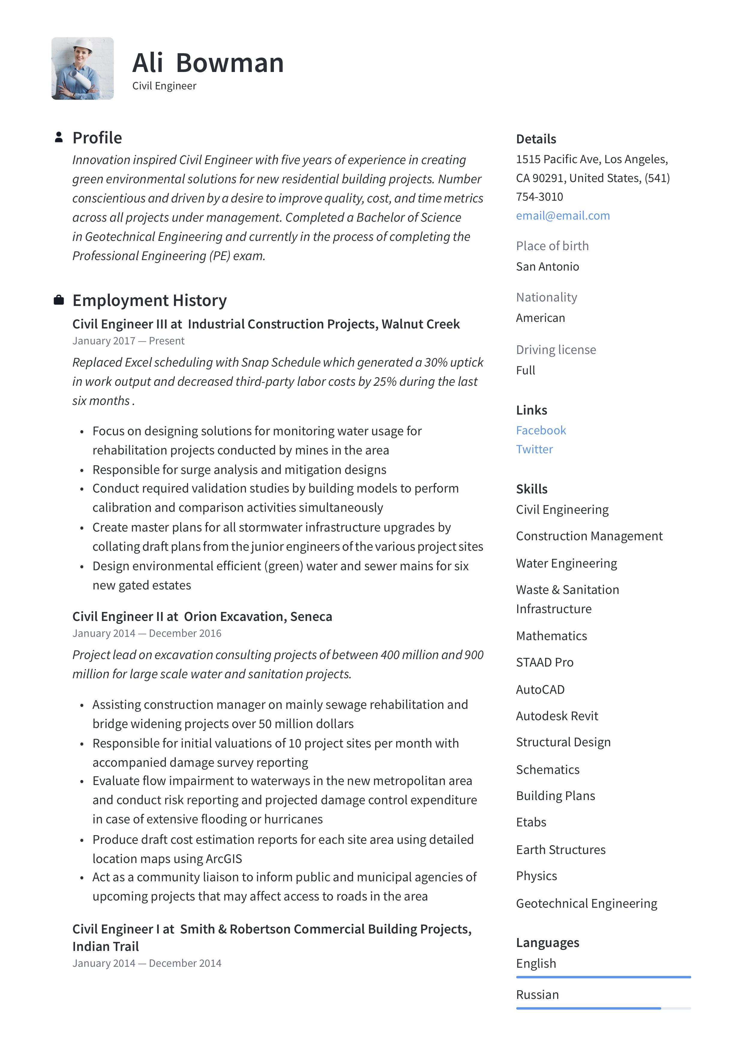 civil engineer resume  u0026 writing guide