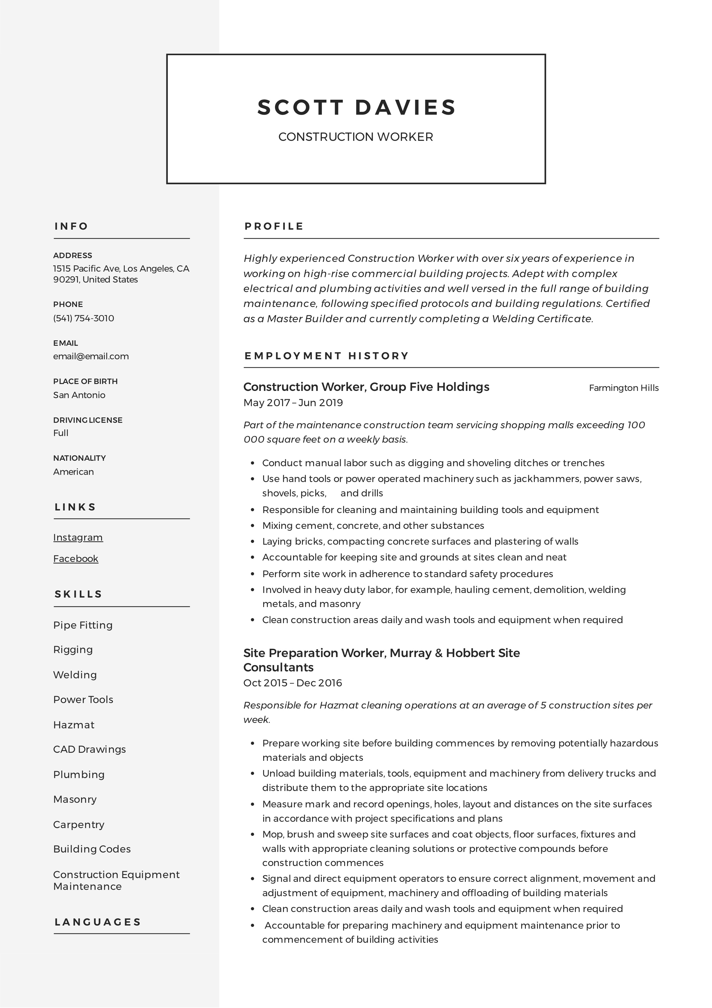 Resume Template Construction Worker