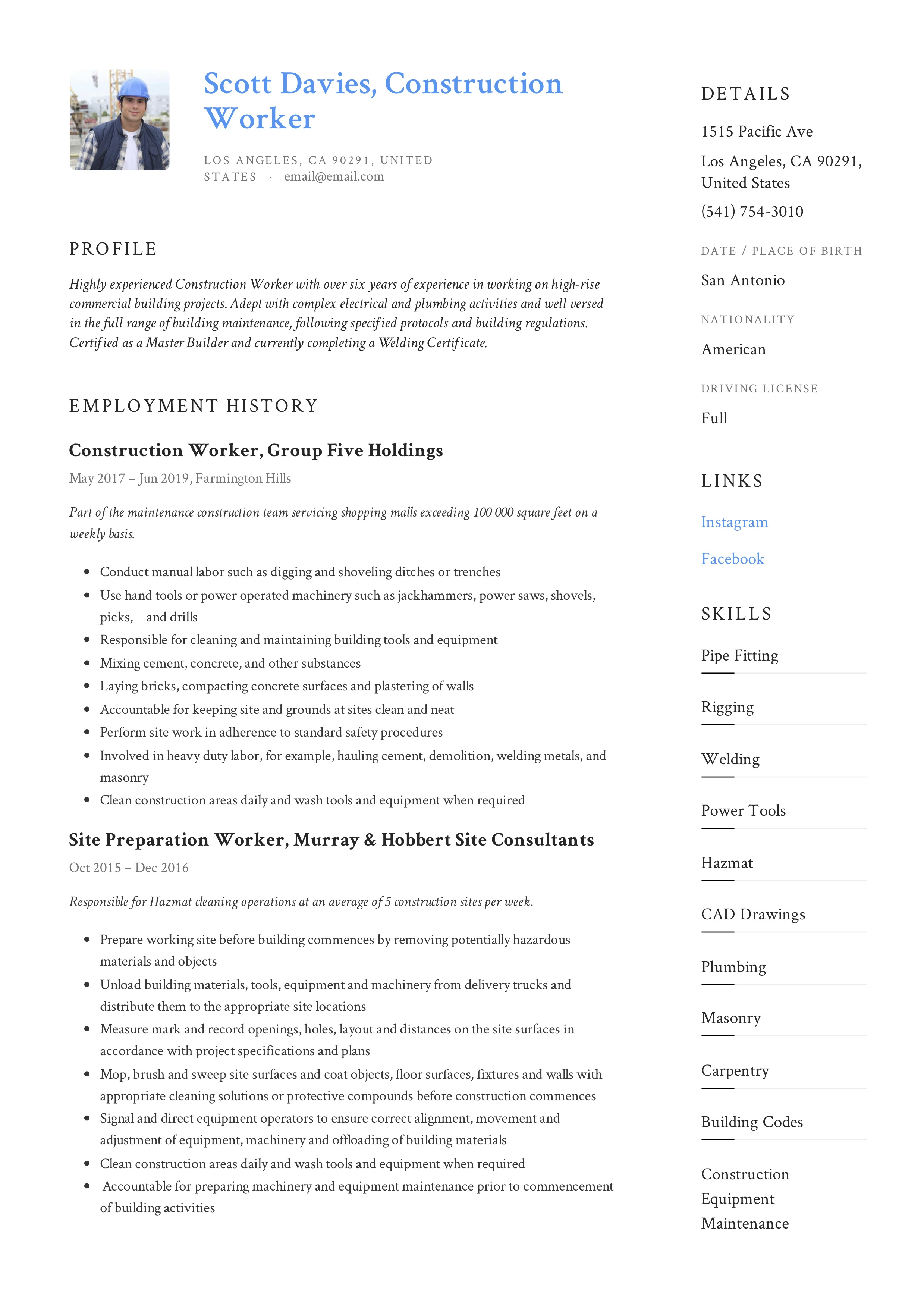 Resume Example Construction Worker