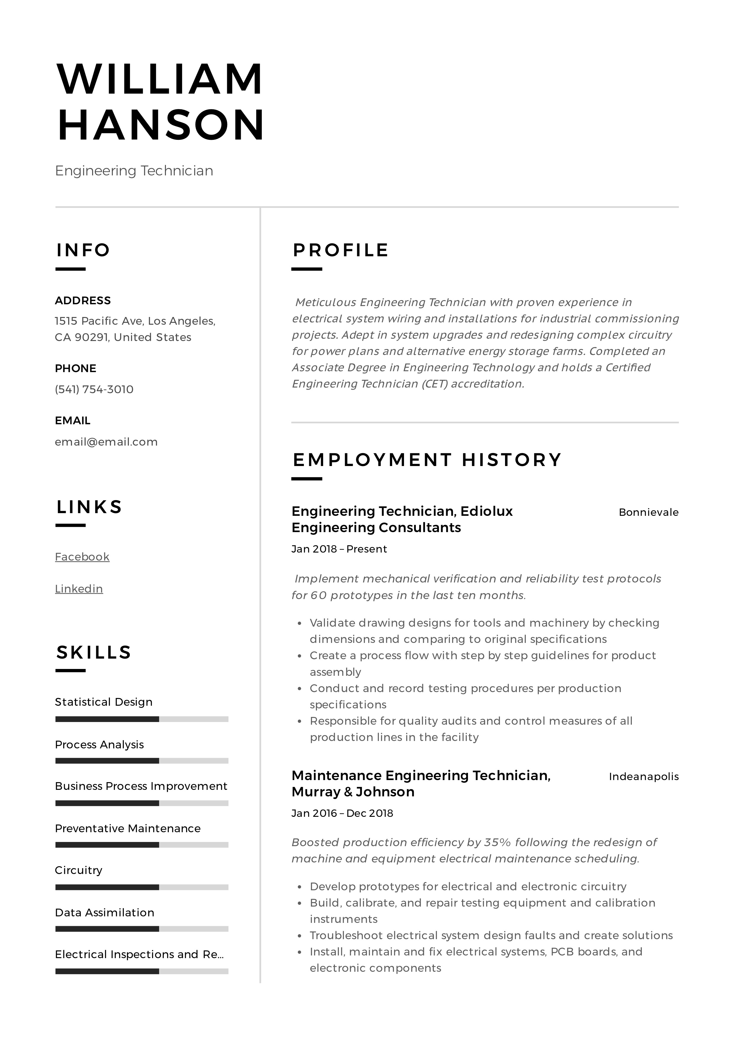 engineering technician resume  u0026 writing guide  12 templates